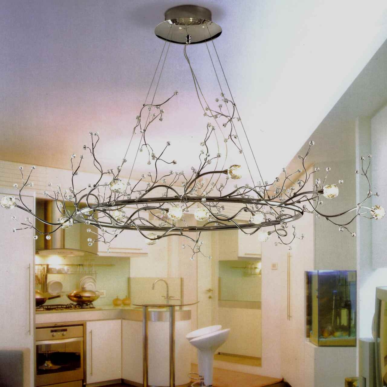 40 Albero Modern Crystal Branch Oval Chandelier Polished Chrome 8 With Regard To Branch Crystal Chandelier (Image 1 of 15)