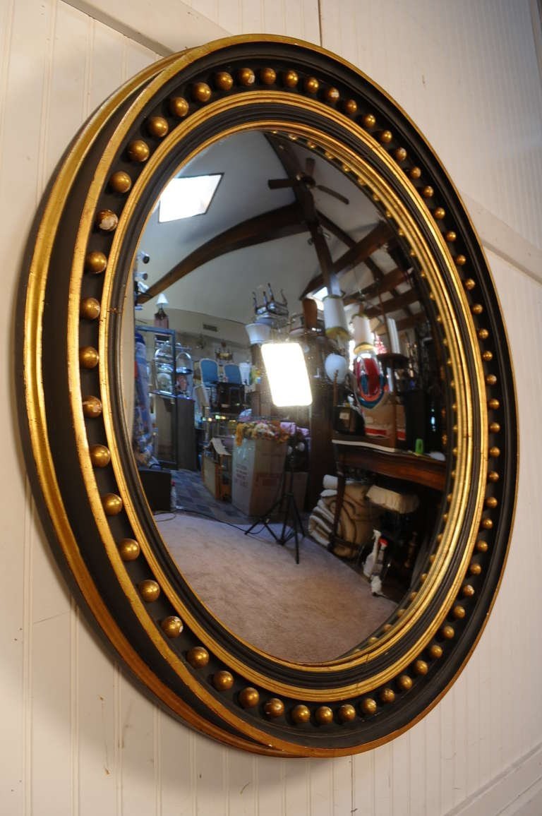 40 Round Convex Ebonized And Gold Gilt Wood Regency Carved Intended For Round Convex Wall Mirror (Image 1 of 15)