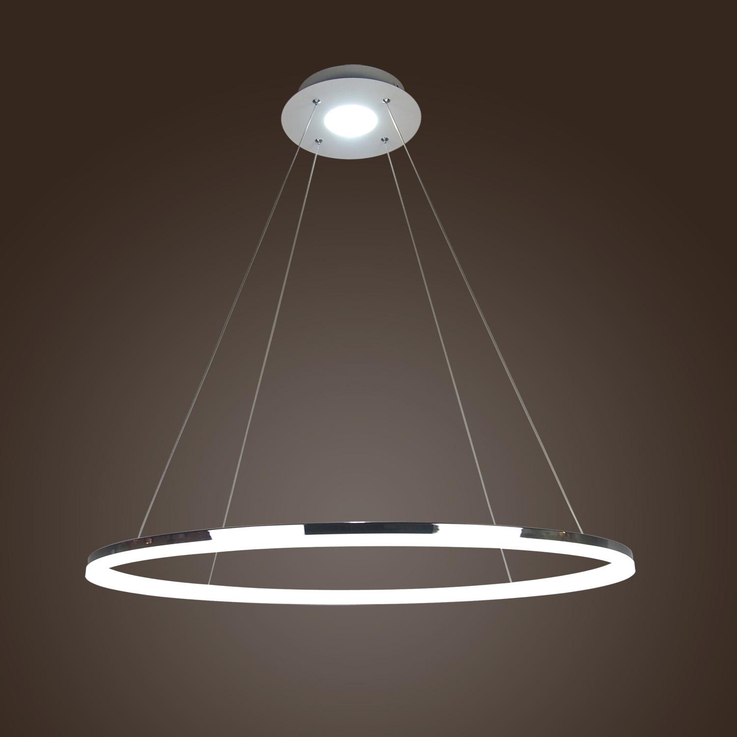406080cm Modern Led Acrylic Round Pendant Chandelier Ceiling Intended For Modern Led Chandelier (Photo 3 of 15)