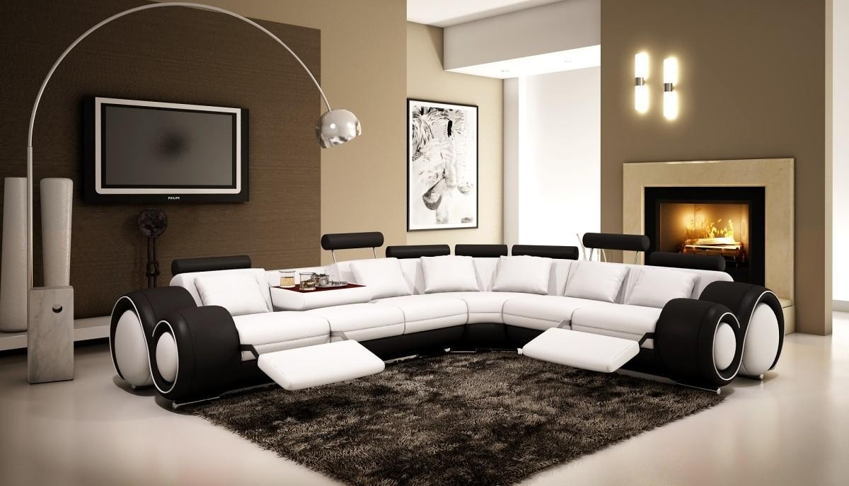 4087 Black And White Half Leather Sectional Sofa With Recliners Regarding Black And White Sectional Sofa (Image 2 of 15)