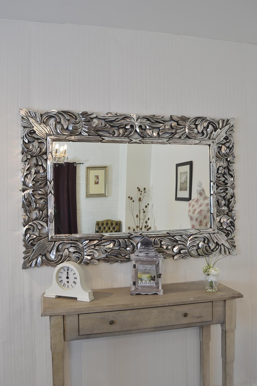 4ft11 X 3ft4 Large Silver Carved Ornate Wall Mounted Mirror Wood Inside Silver Ornate Framed Mirror (Image 1 of 15)