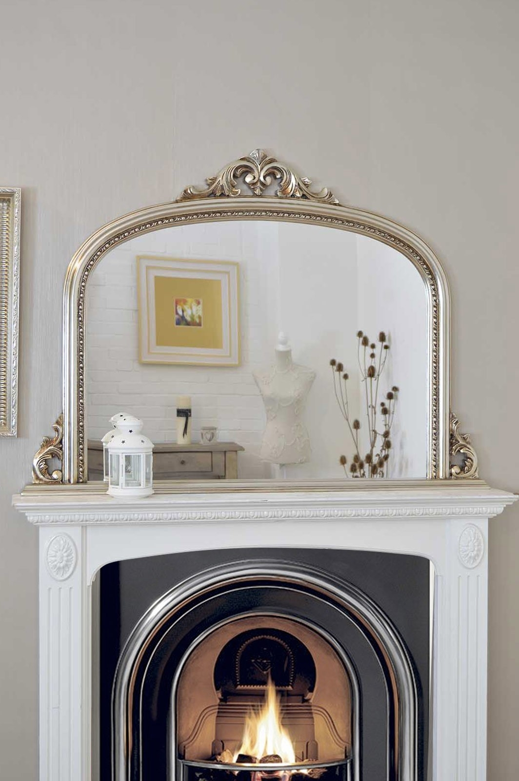 4ft2 X 3ft 120cm X 90cm Large Silver Antique Design Over Mantle With Mantlepiece Mirrors (Image 2 of 15)