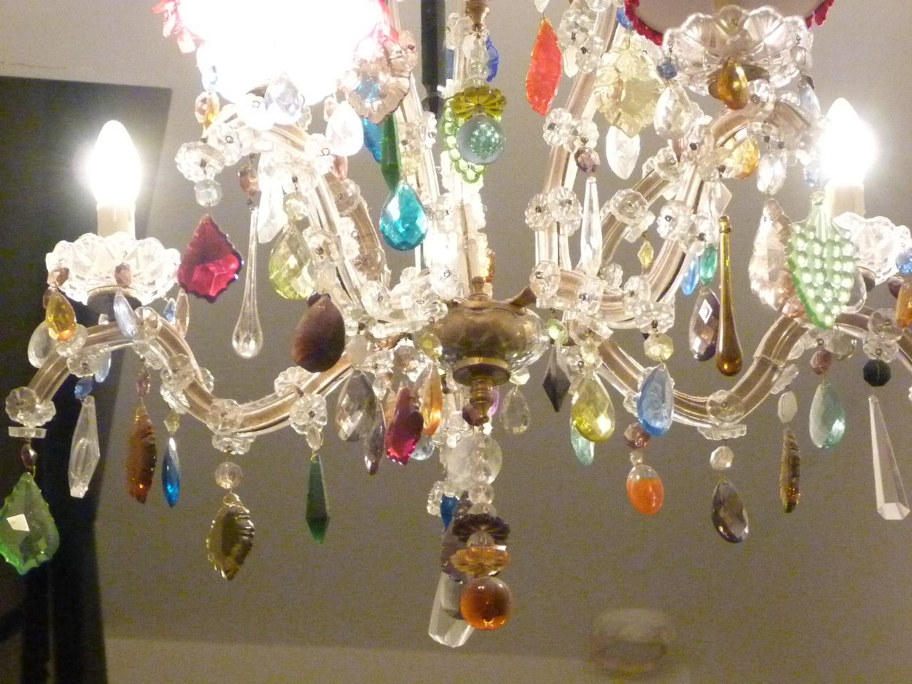 5 Arm Glass Marie Therese With Multi Coloured Drops The Vintage Inside Coloured Glass Chandelier (Image 1 of 15)
