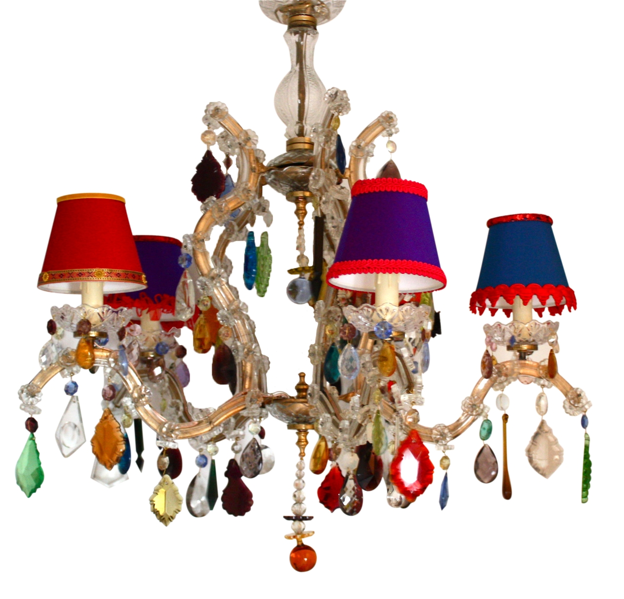 5 Arm Glass Marie Therese With Multi Coloured Drops The Vintage Pertaining To Coloured Chandeliers (Image 2 of 15)