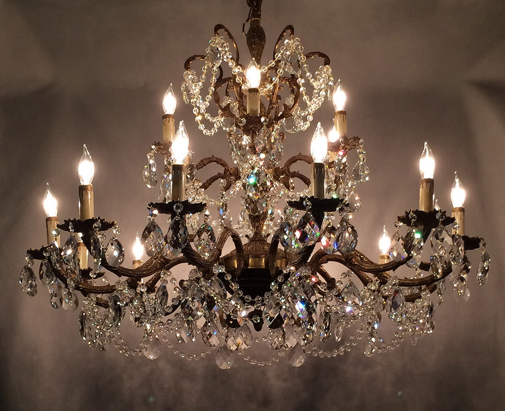 5 Light Antique White Chandelier With Pink Rose Shades Crystal In Expensive Crystal Chandeliers (Image 1 of 15)