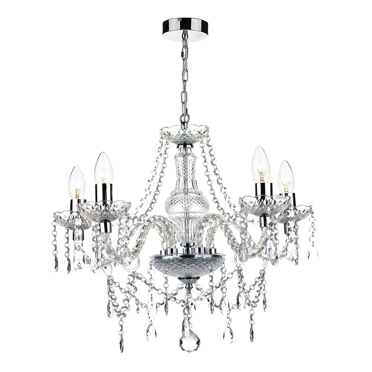 5 Light Chandelier Polished Chrome Acrylic Glass Within Chrome And Glass Chandelier (Photo 1 of 15)