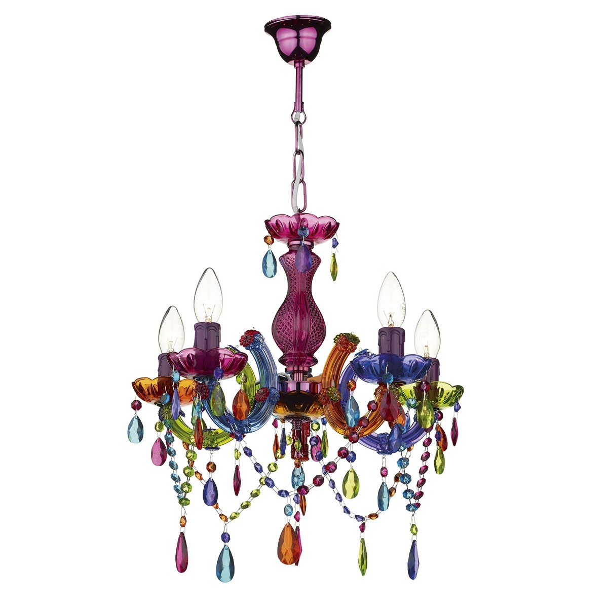 5 Light Multi Coloured Chandelier Pertaining To Coloured Chandeliers (Image 3 of 15)