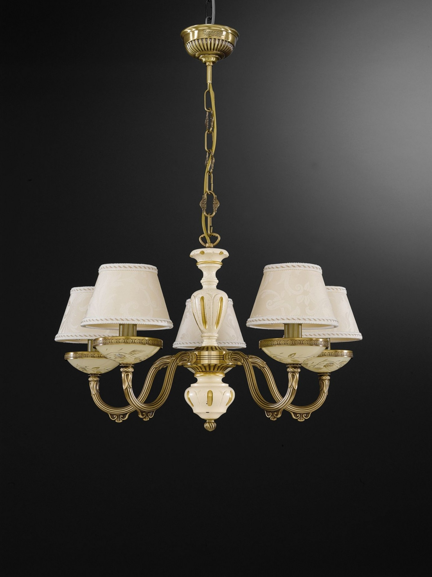 5 Lights Brass Wood And Cream Glass Chandelier With Lamp Shades With Regard To Cream Chandelier Lights (Image 2 of 15)
