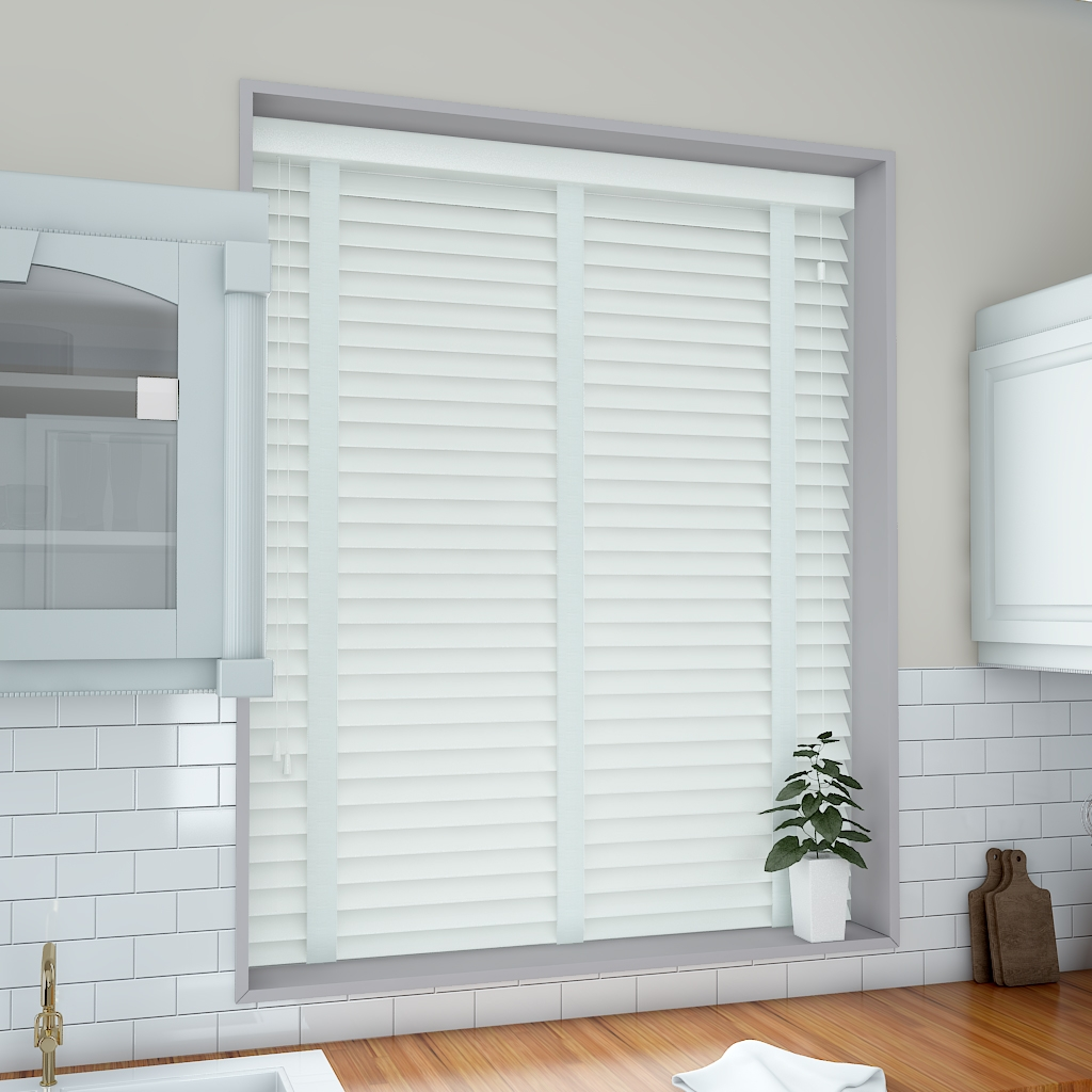 50mm Pure White Venetian Blind With Cotton Tapes Real Wood From Pertaining To Cotton Blinds (Image 1 of 15)