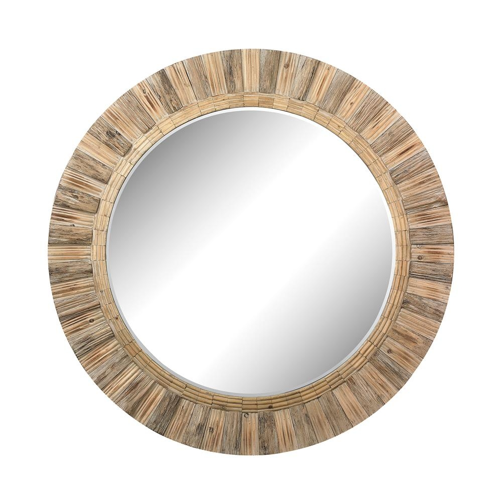51 10162 Dimond Home Elk 51 10162 Large Round Wicker Mirror Intended For Large Round Wooden Mirror (Image 1 of 15)