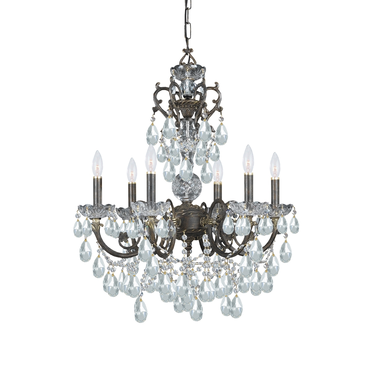 5196 Eb Cl Mwp Legacy 6 Light Clear Crystal Bronze Chandelier Intended For Ornate Chandeliers (Image 1 of 15)