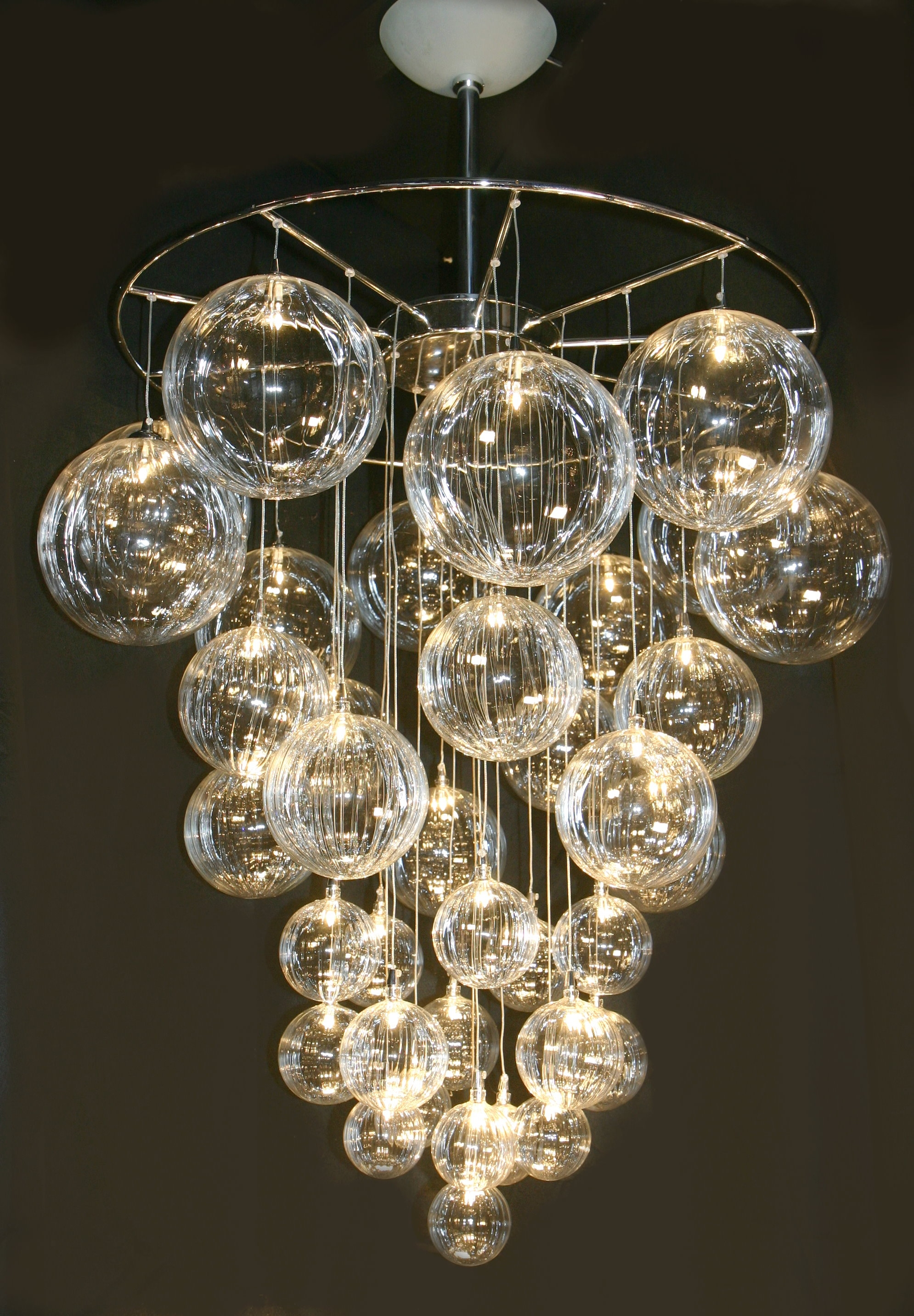 53 Modern Chandelier Lighting Chromecrystalmetal Bubble Shade Intended For Contemporary Chandeliers (Image 3 of 15)