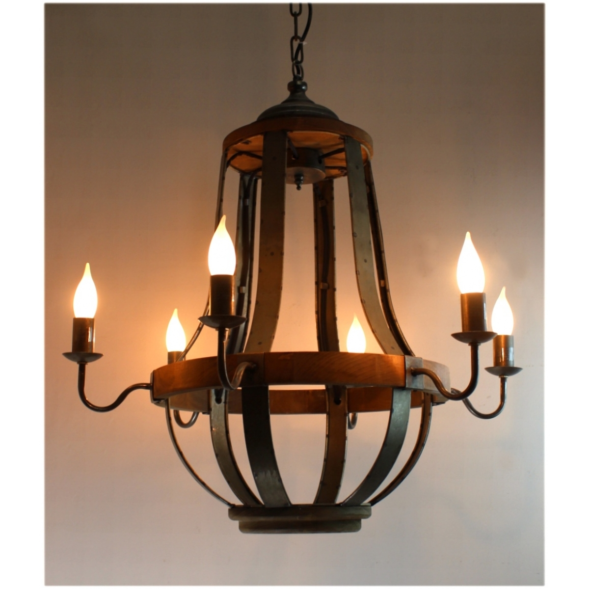 579 Iron Strap And Aged Wood Chandelier French Country Vintage In Vintage Style Chandelier (View 11 of 15)