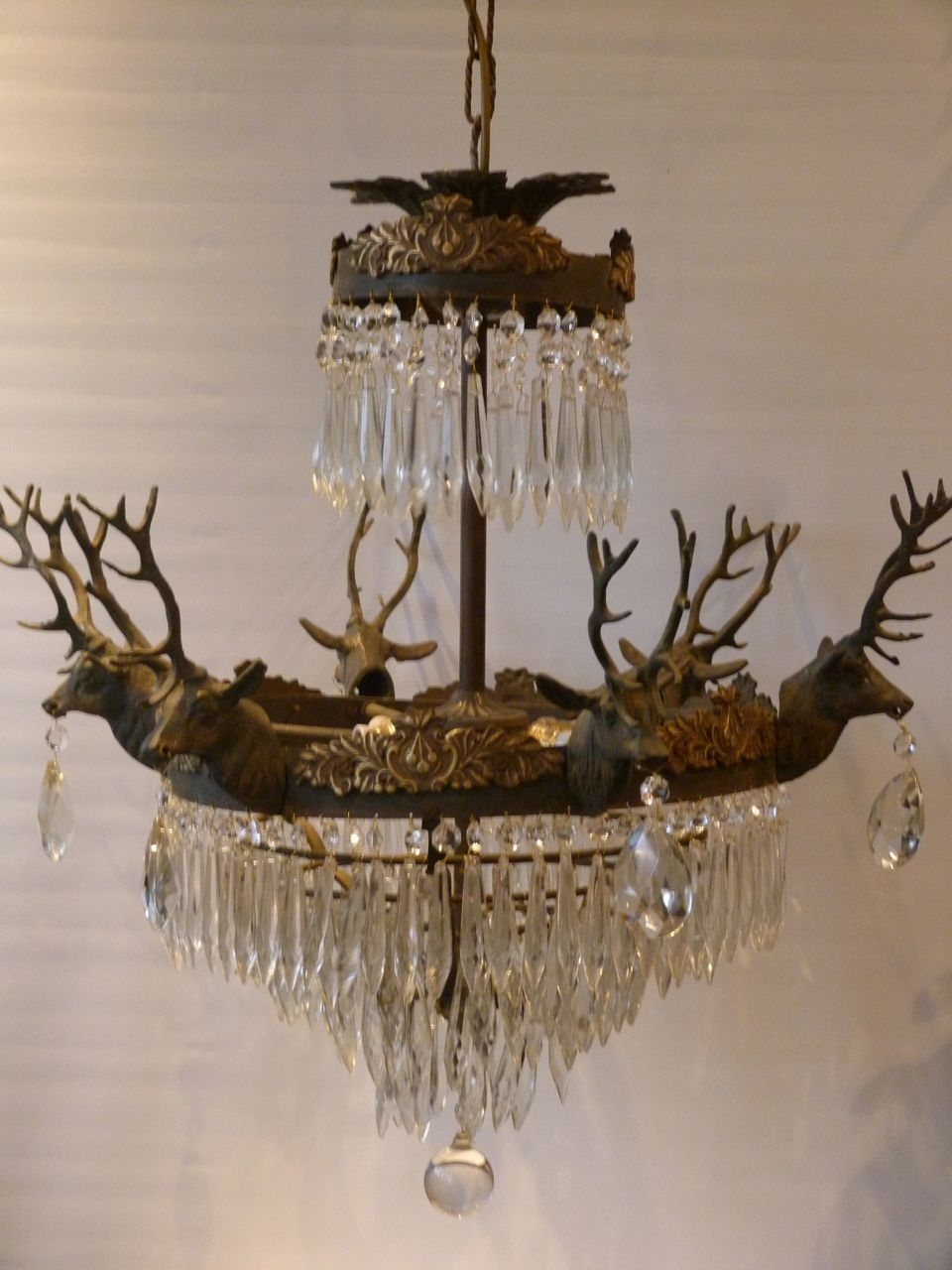 6 Arm Brass Stag Head Chandelier The Vintage Chandelier Company Inside Vintage Chandeliers (Image 3 of 15)