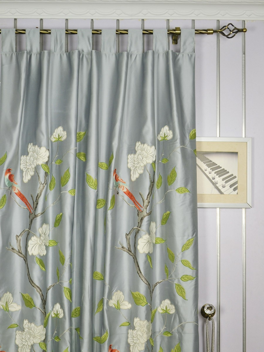 63 Inch 96 Inch Gray Embroidered Bird Branch Grommet Faux Silk Intended For Ready Made Curtains 120 Inch Drop (Image 6 of 15)
