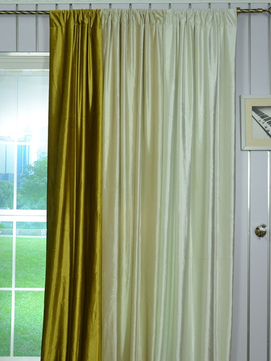 63 Inch 96 Inch Whitney Beige And Yellow Solid Blackout Grommet With Regard To Yellow Velvet Curtains (Image 5 of 15)