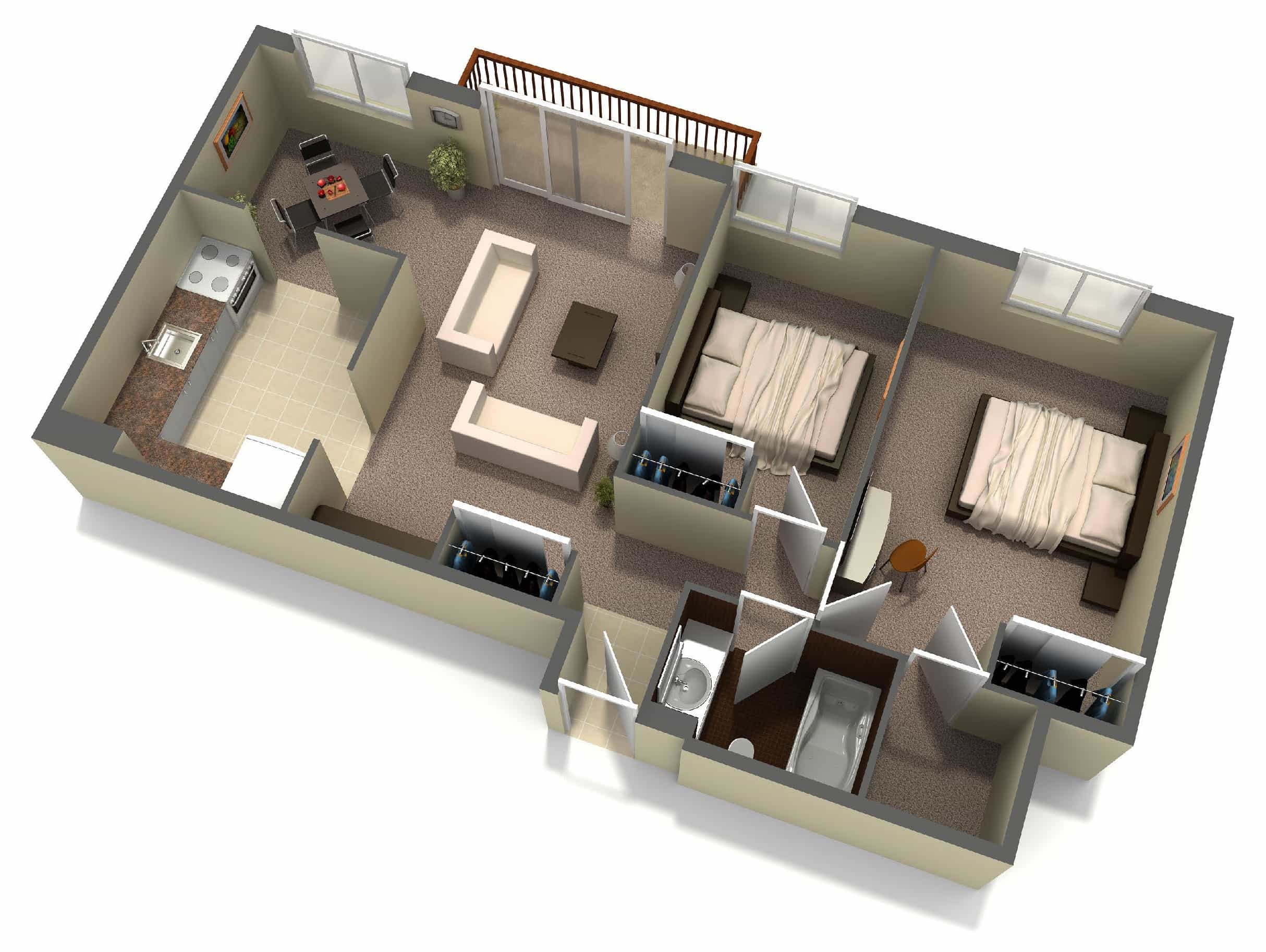 Interior 3d two bedroom house layout design plans 3 of for Create house design 3d