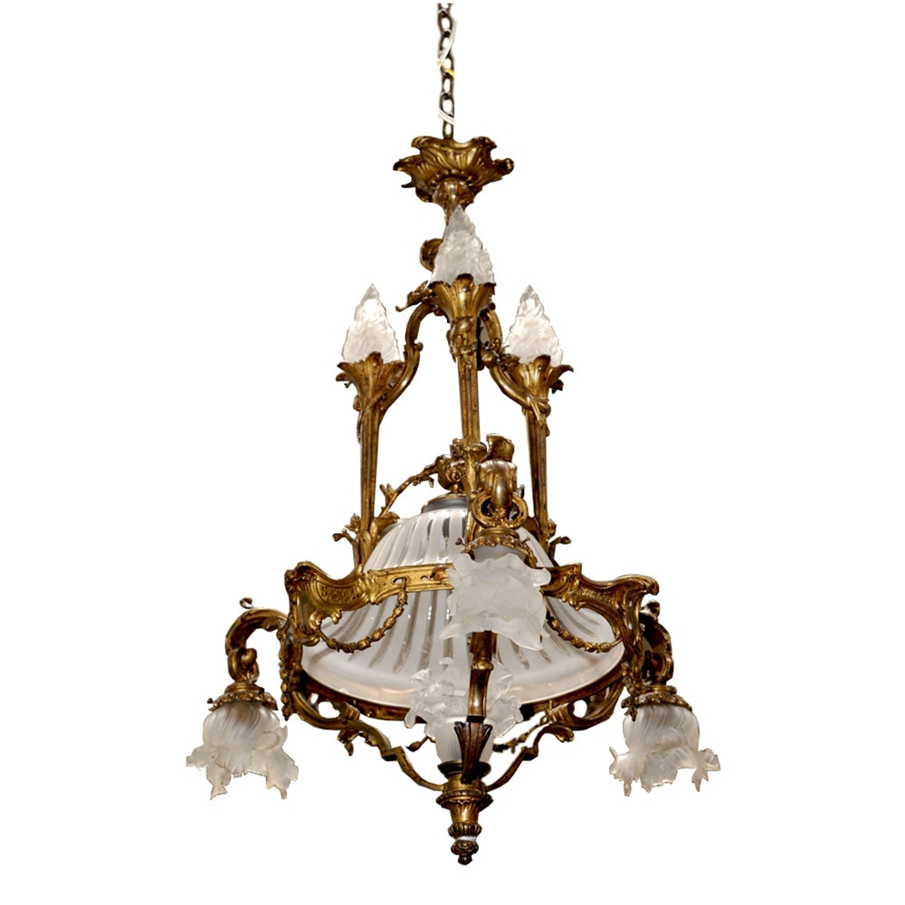 7016 French Bronze Art Nouveau Chandelier From Antiquariantraders Inside Large Art Deco Chandelier (Image 1 of 15)