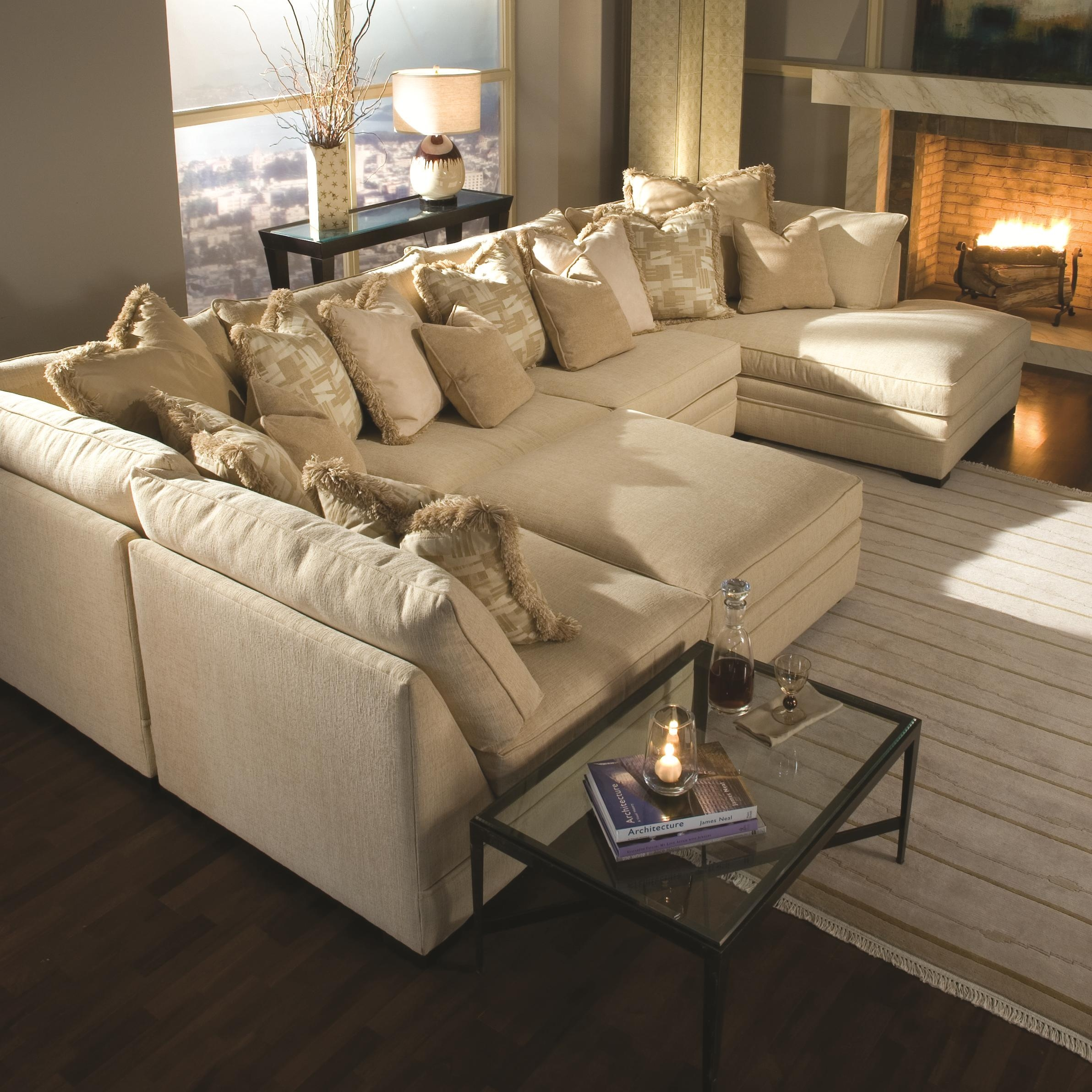 7100 Contemporary U Shape Sectional Sofa With Chaise Huntington Throughout Coffee Table For Sectional Sofa With Chaise (Image 2 of 15)