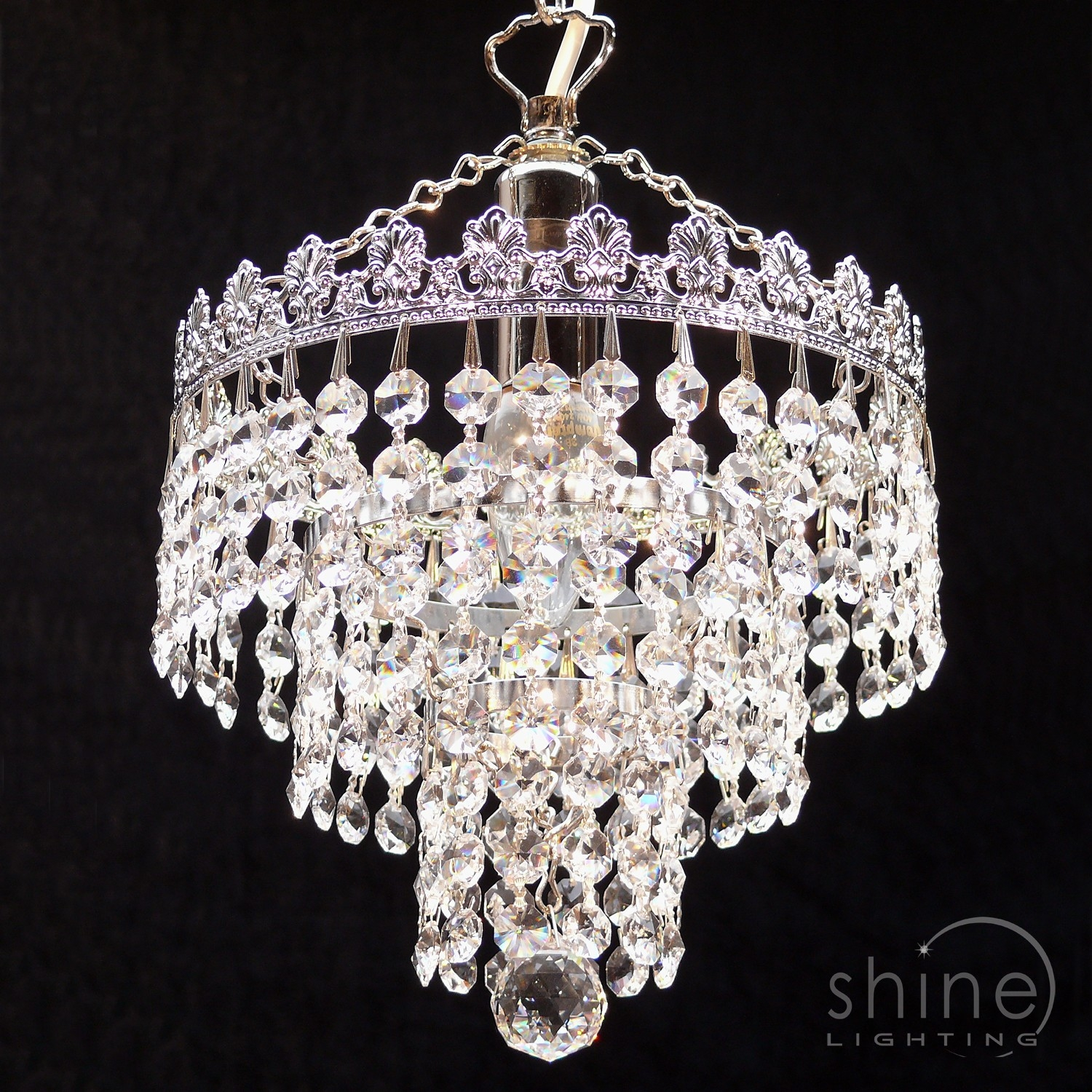 8 3 Tier Crystal Chandelier Regarding 3 Tier Crystal Chandelier (Photo 12 of 15)