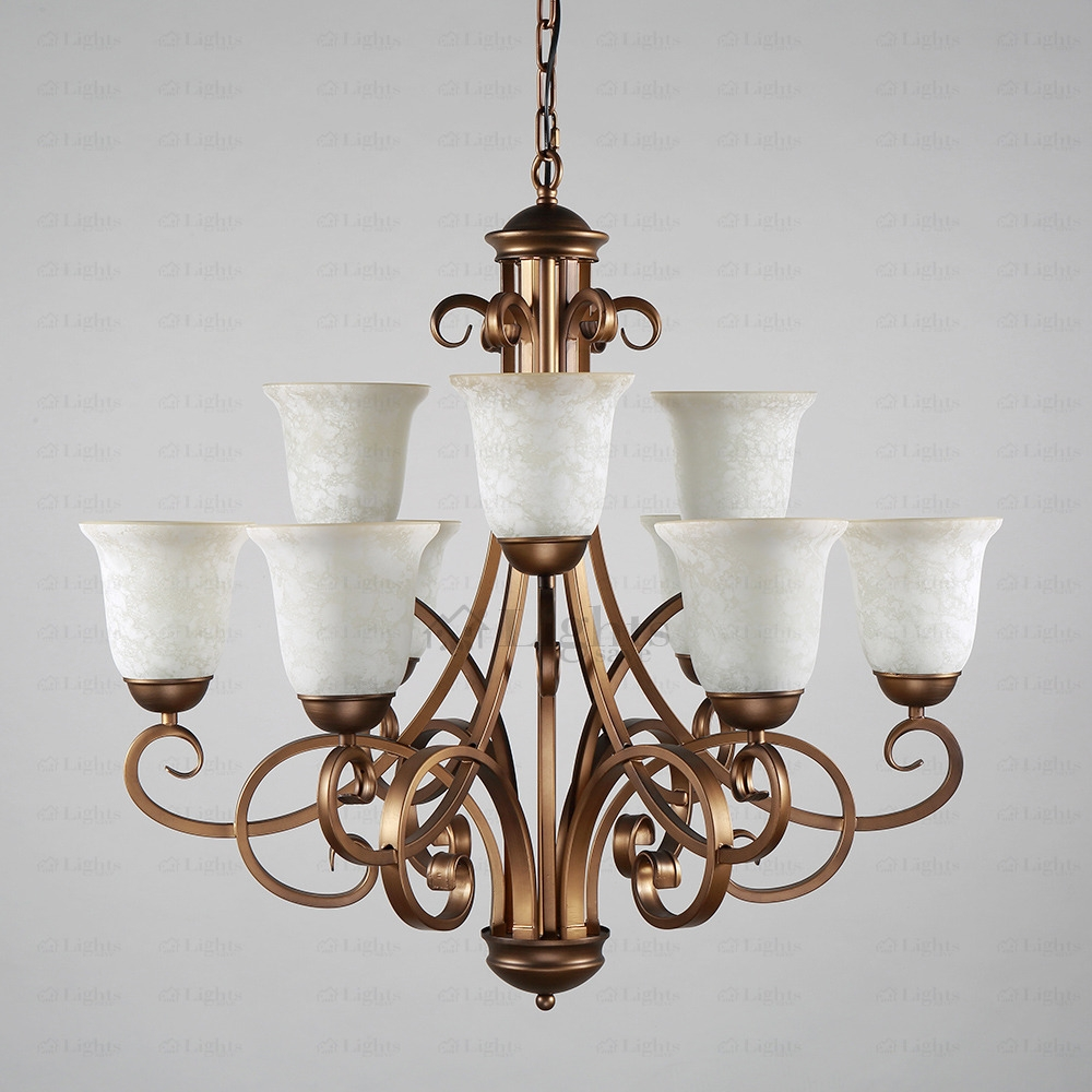 9 Light Glass Shade Two Tiered Shab Chic Chandelier With Shabby Chic Chandeliers (View 11 of 15)