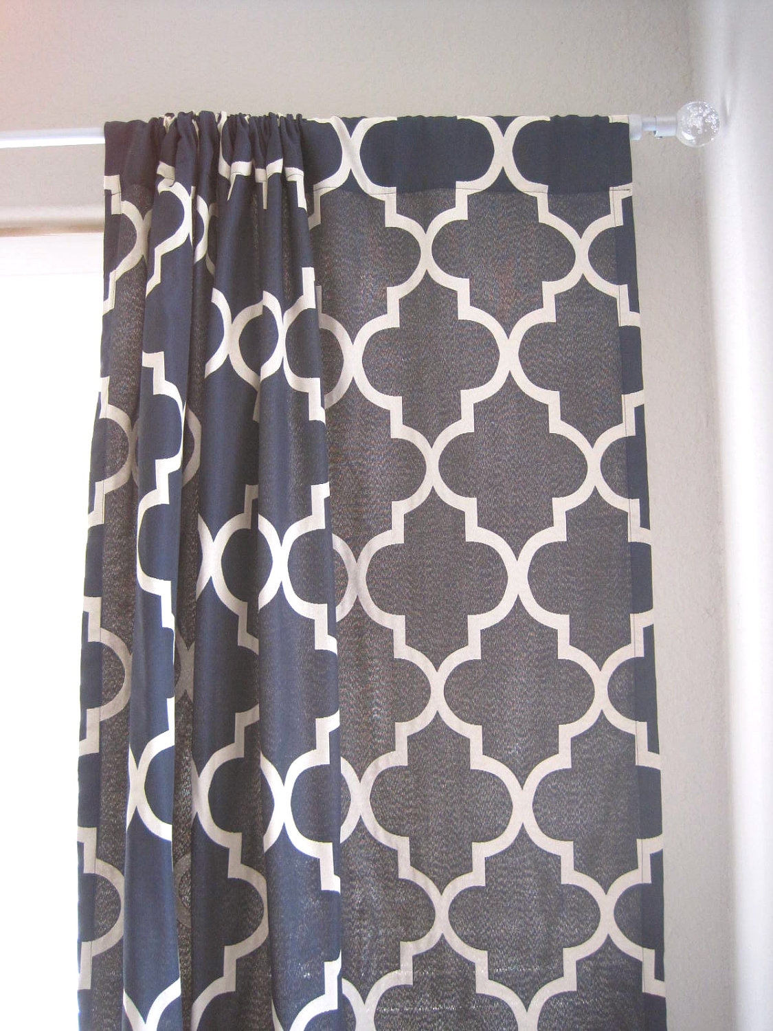 96 Length Pair Of Drapery Panels Moroccan Lattice Quatrefoil Intended For Moroccan Print Curtains (Image 2 of 15)