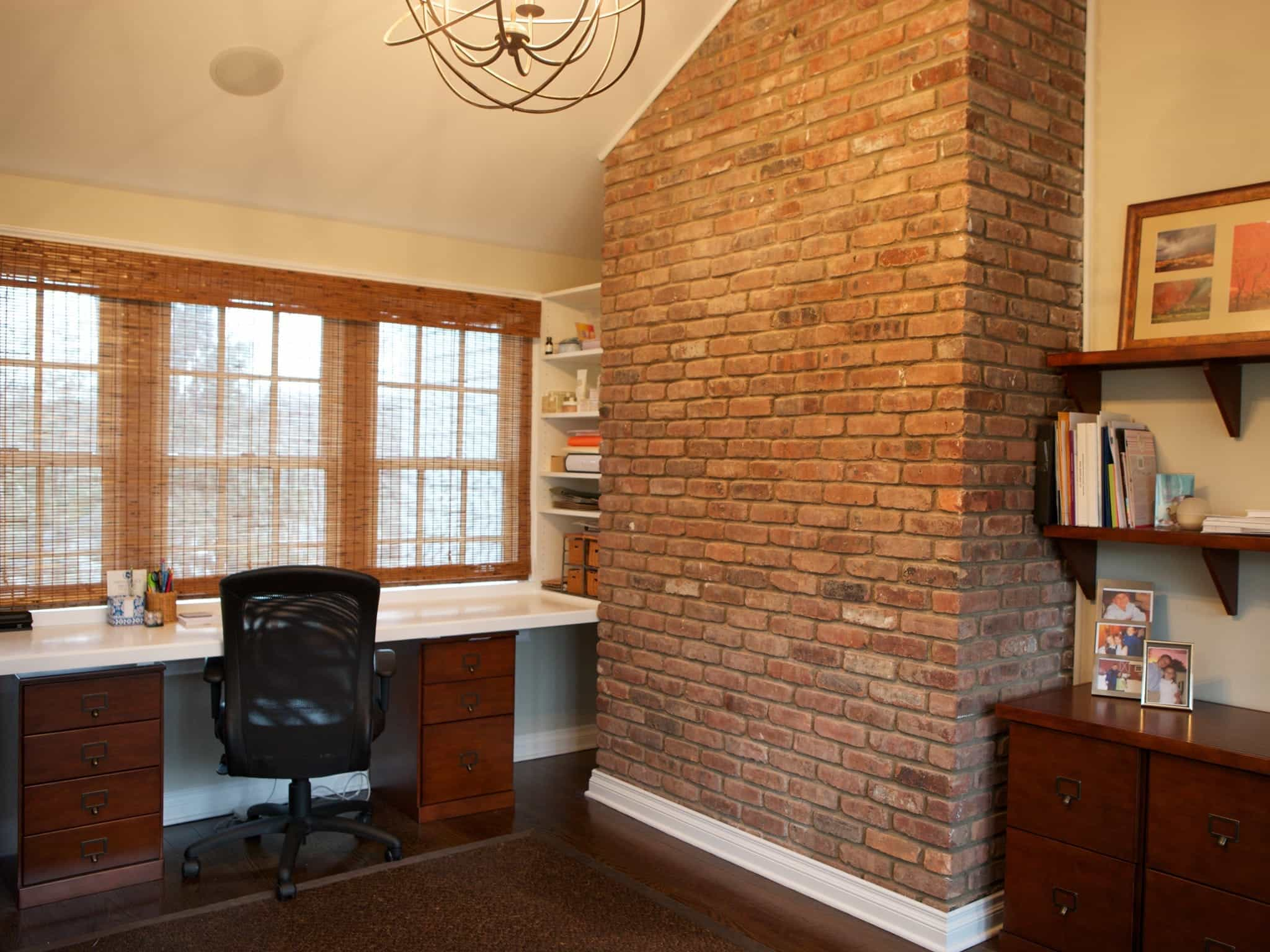 A Neutral Home Office With A Brick Wall (Image 1 of 30)