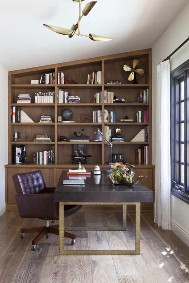 Featured Image of Arts And Crafts Home Office With Bookcase And Upholstered Leather Chair