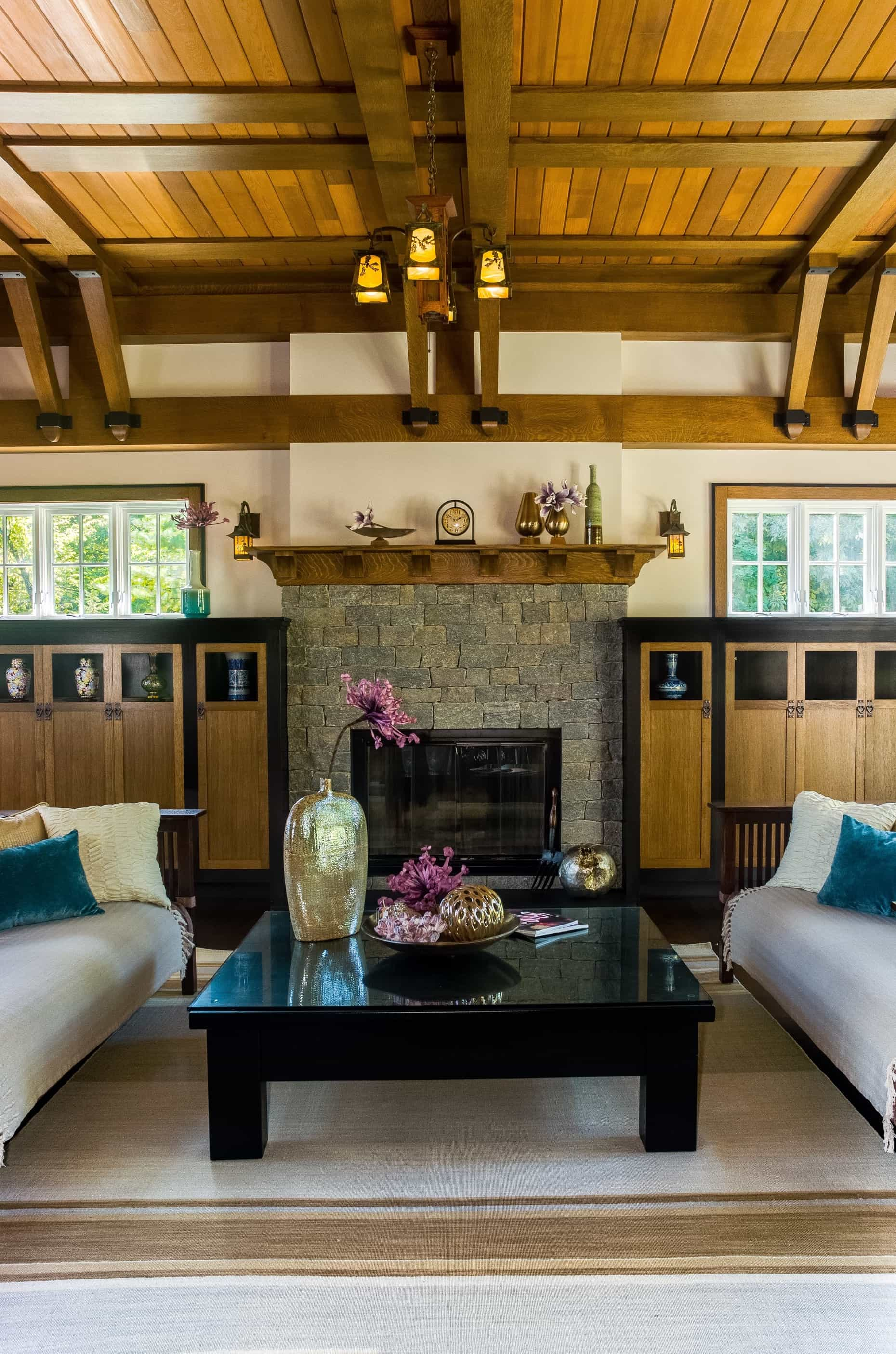 Featured Image of Asian Craftsman Living Room With Exposed Beam Wood Paneled Ceiling