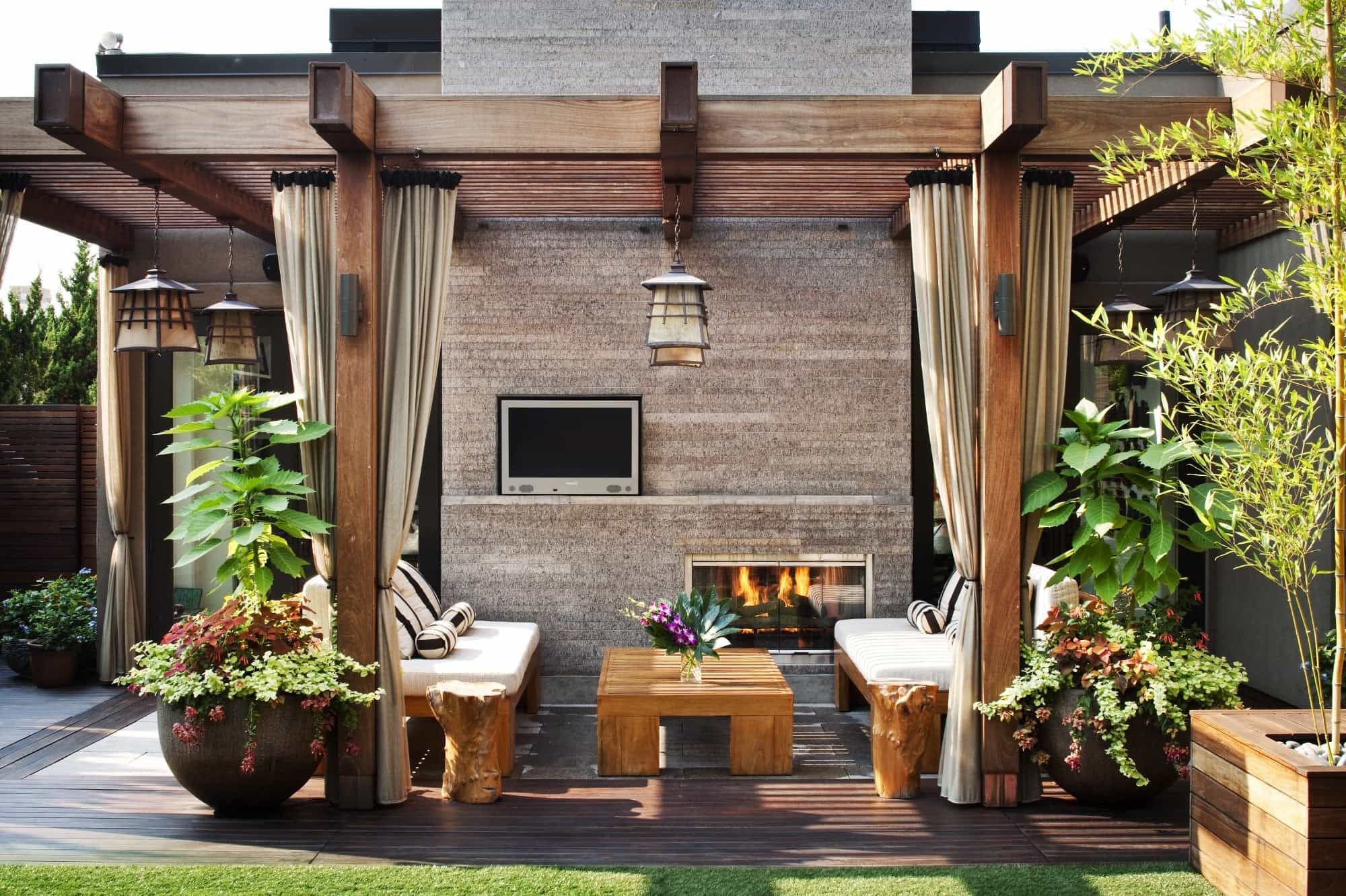 Featured Image of Asian Inspired Outdoor Area With Fireplace