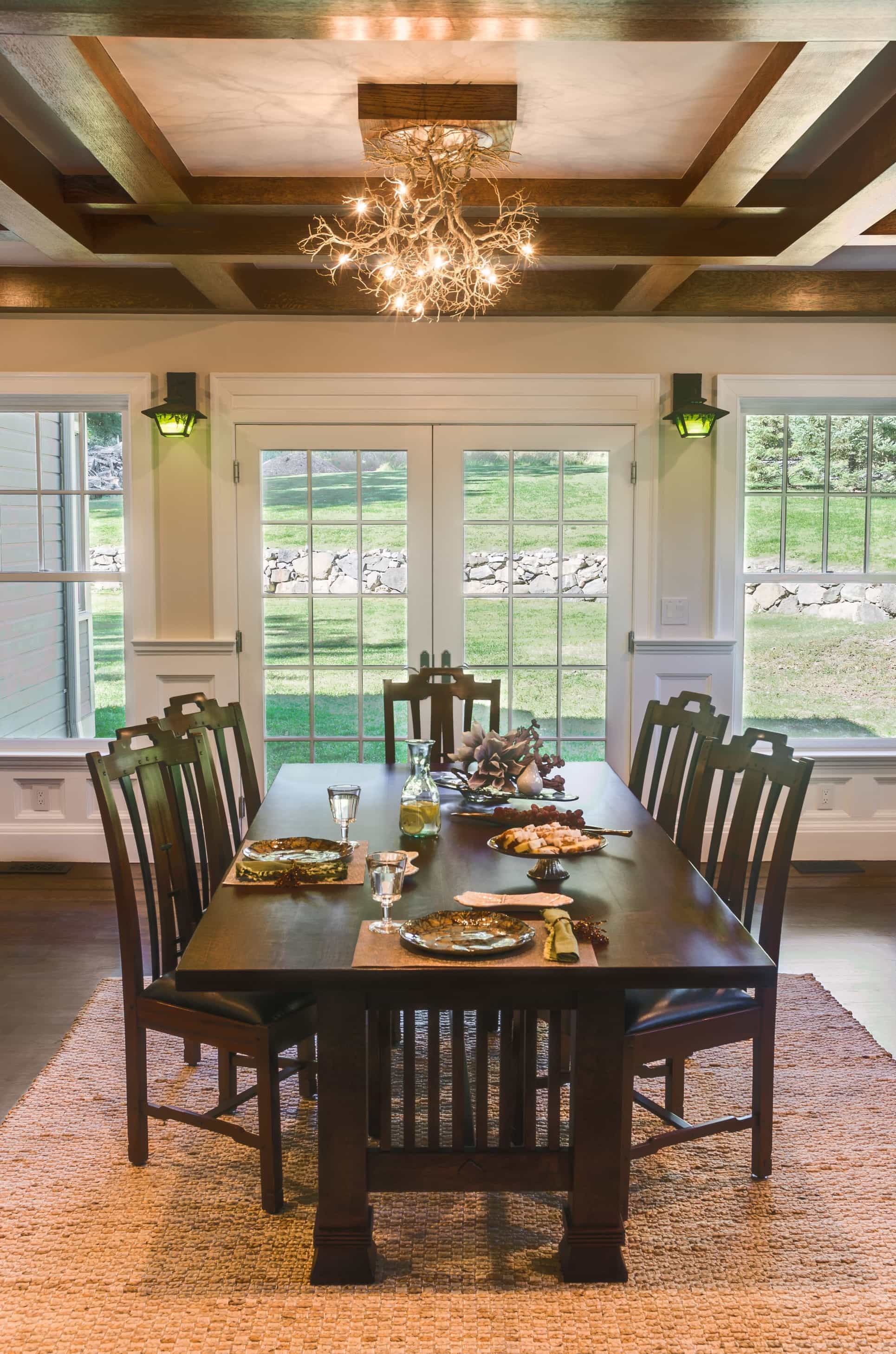 Featured Image of Asian Neutral Dining Room With Craftsman Table And Exposed Beam Ceiling