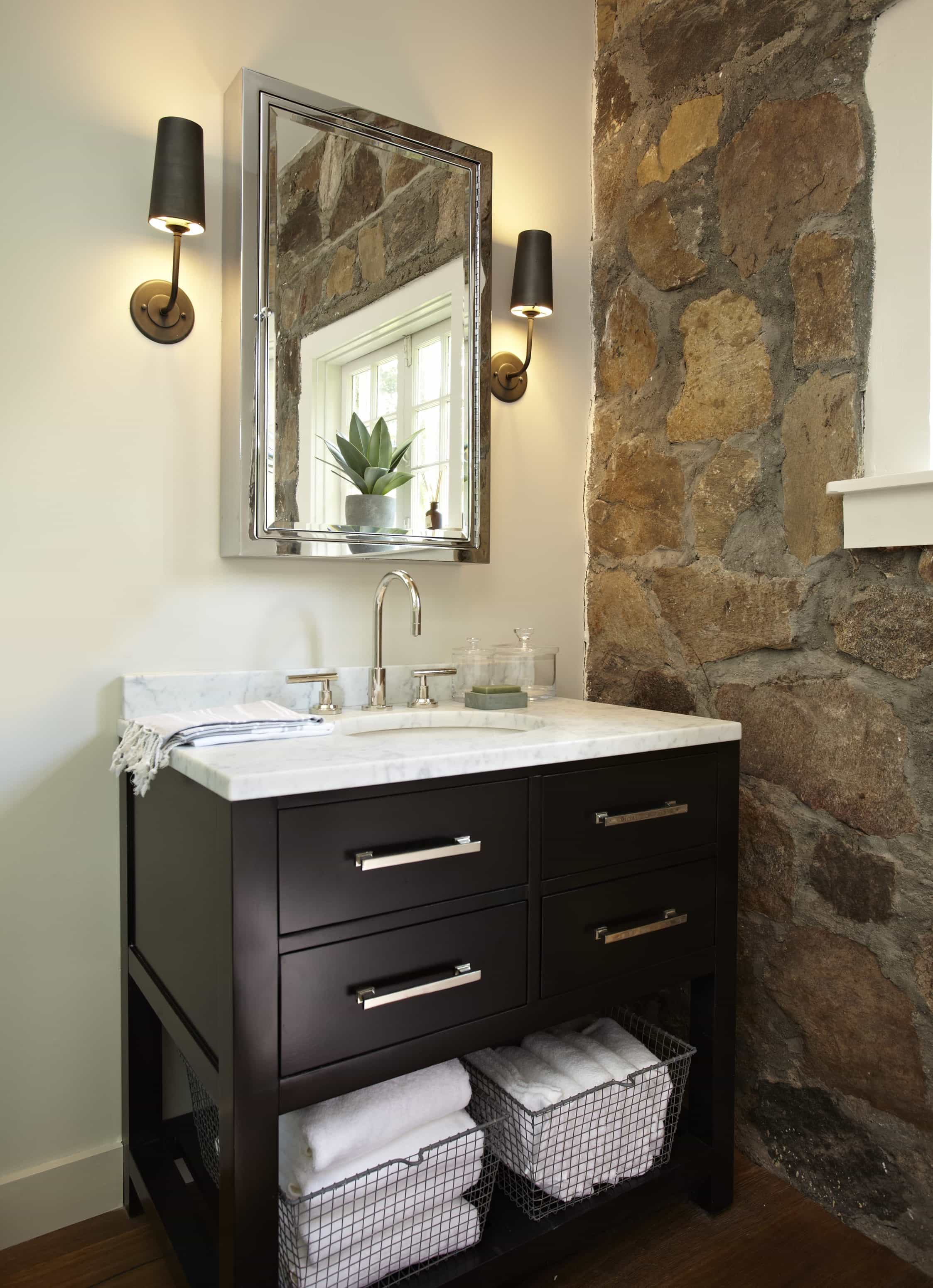 Featured Image of Bathroom With Stone Accent Wall And Contemporary Wood Vanity