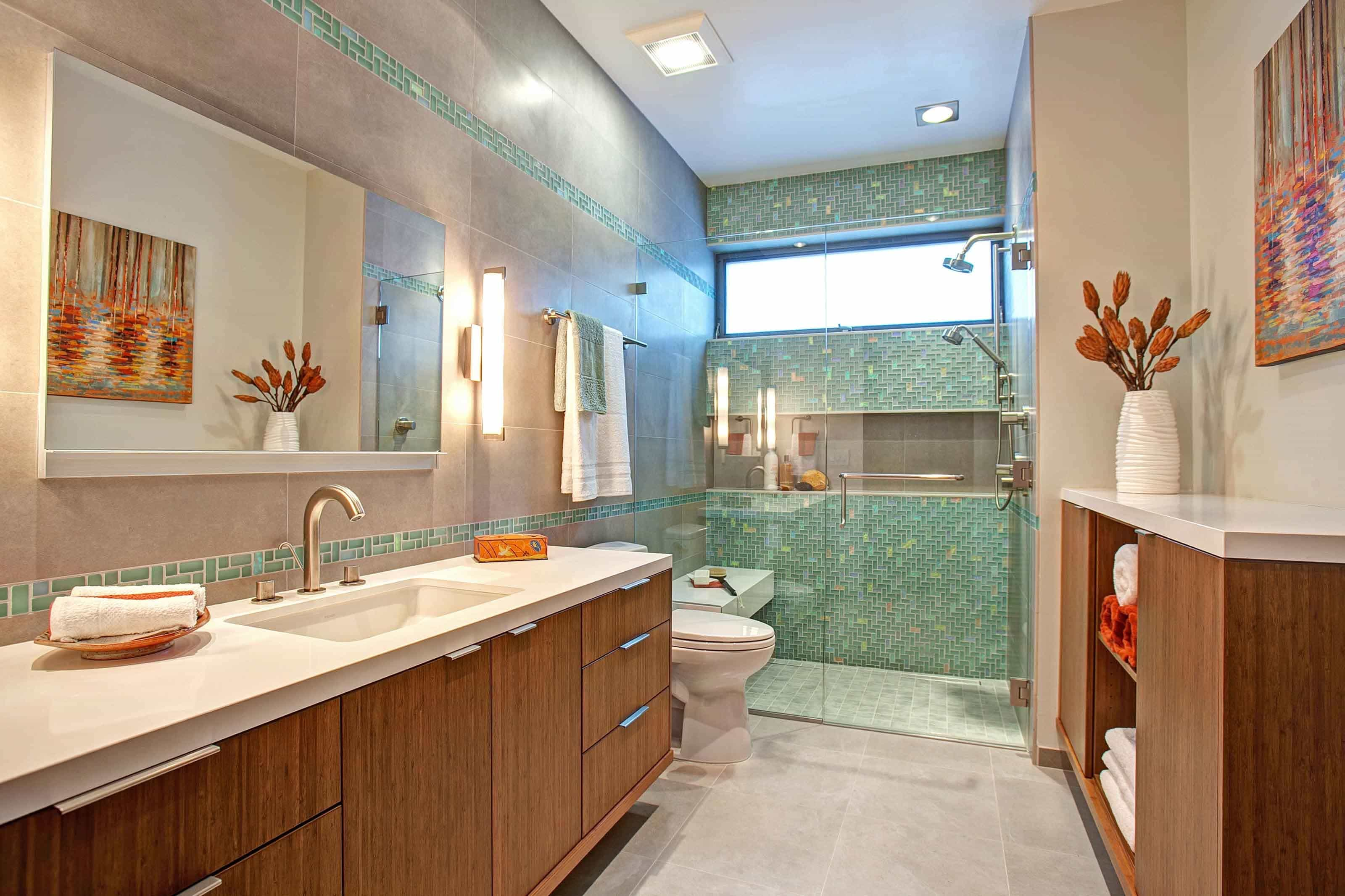 Featured Image of Bathroom And Shower With Green Ceramic Shower Wall