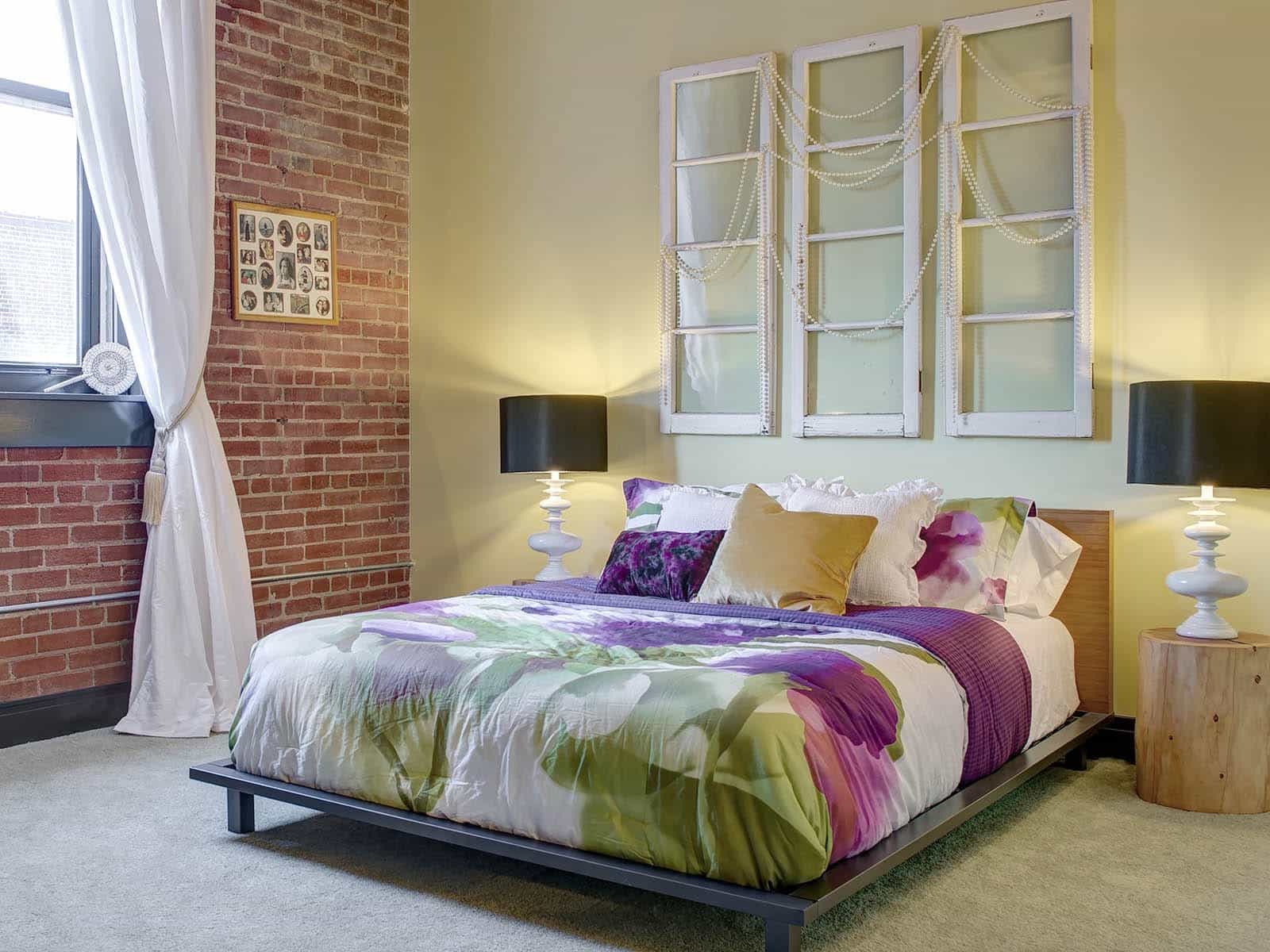 Bedroom With Platfrom Bed And Exposed Brick Walls (Image 2 of 30)
