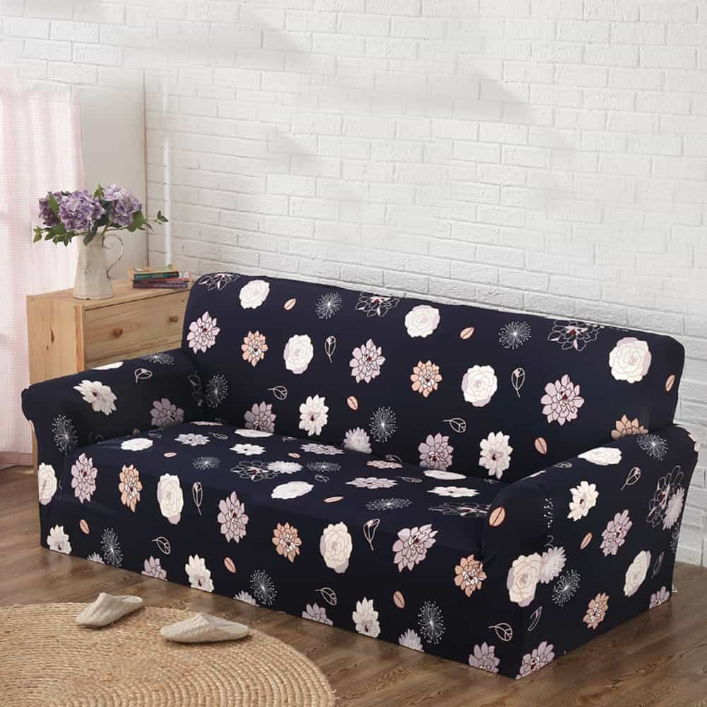 Featured Image of Black And White Floral Printed Loveseat Sofa