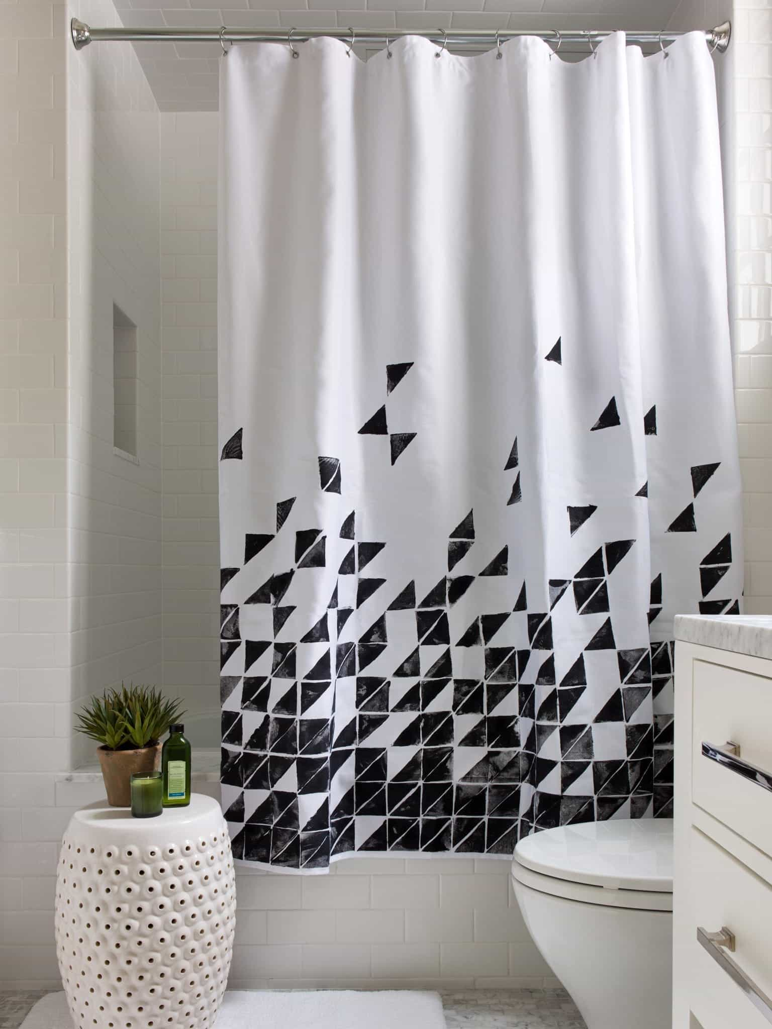Black And White Geometric Shower Curtain (View 13 of 14)