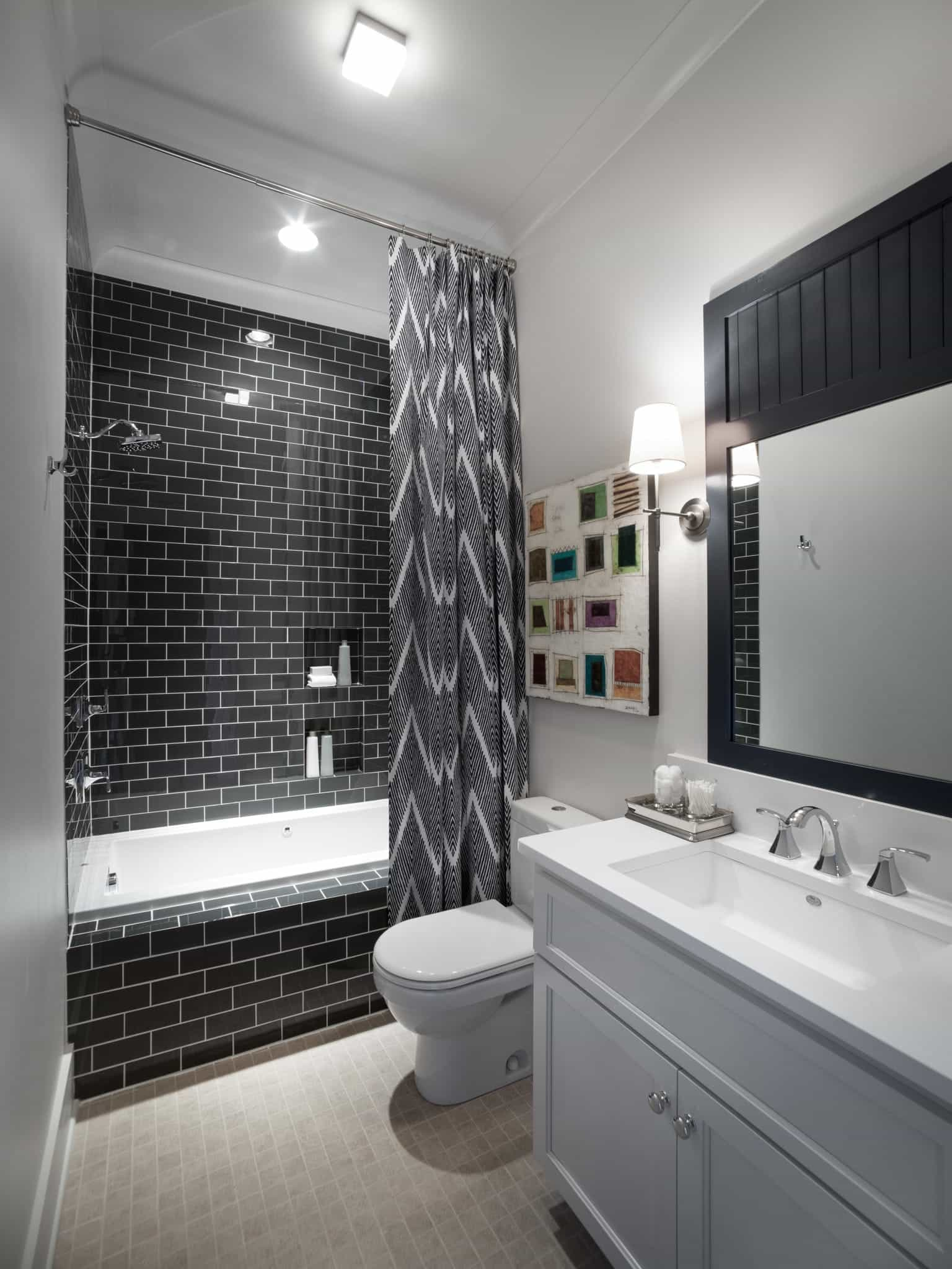 Black And White Modern Bathroom With Chevron Stripe Shower Curtain (View 14 of 14)