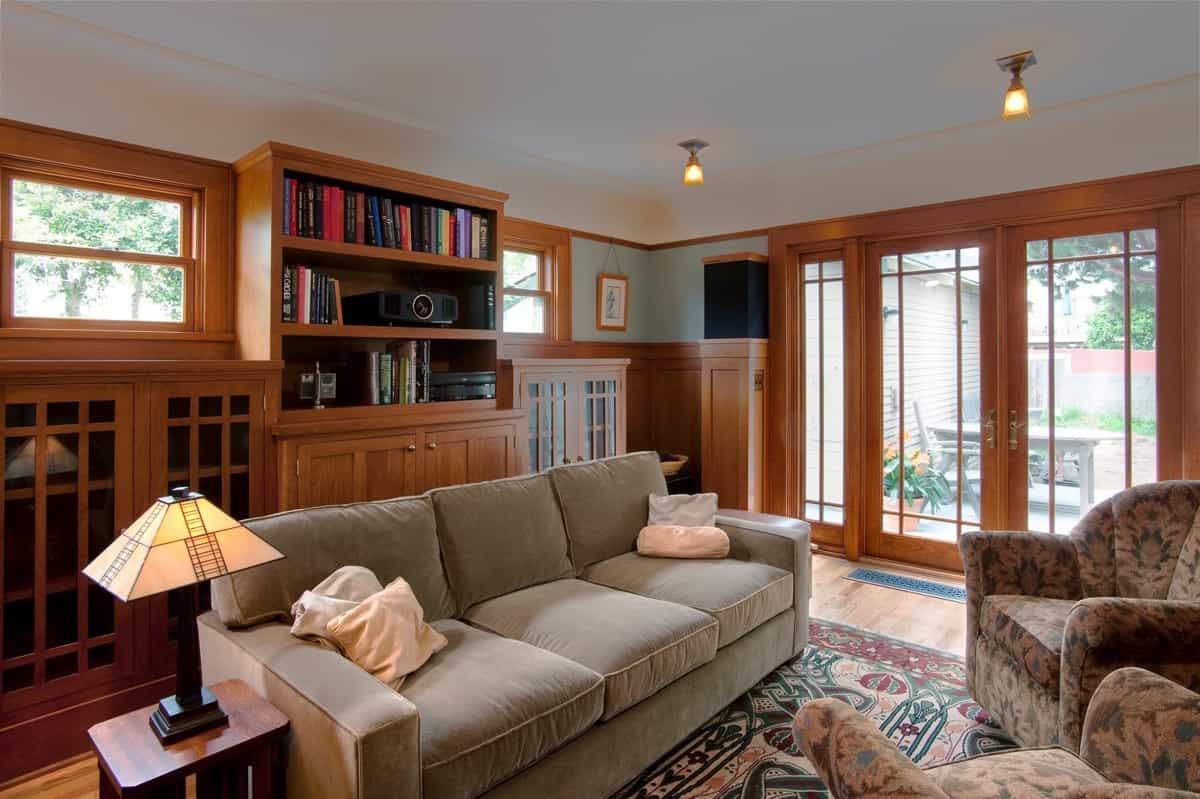 Featured Image of Blue Craftsman Living Room With French Doors