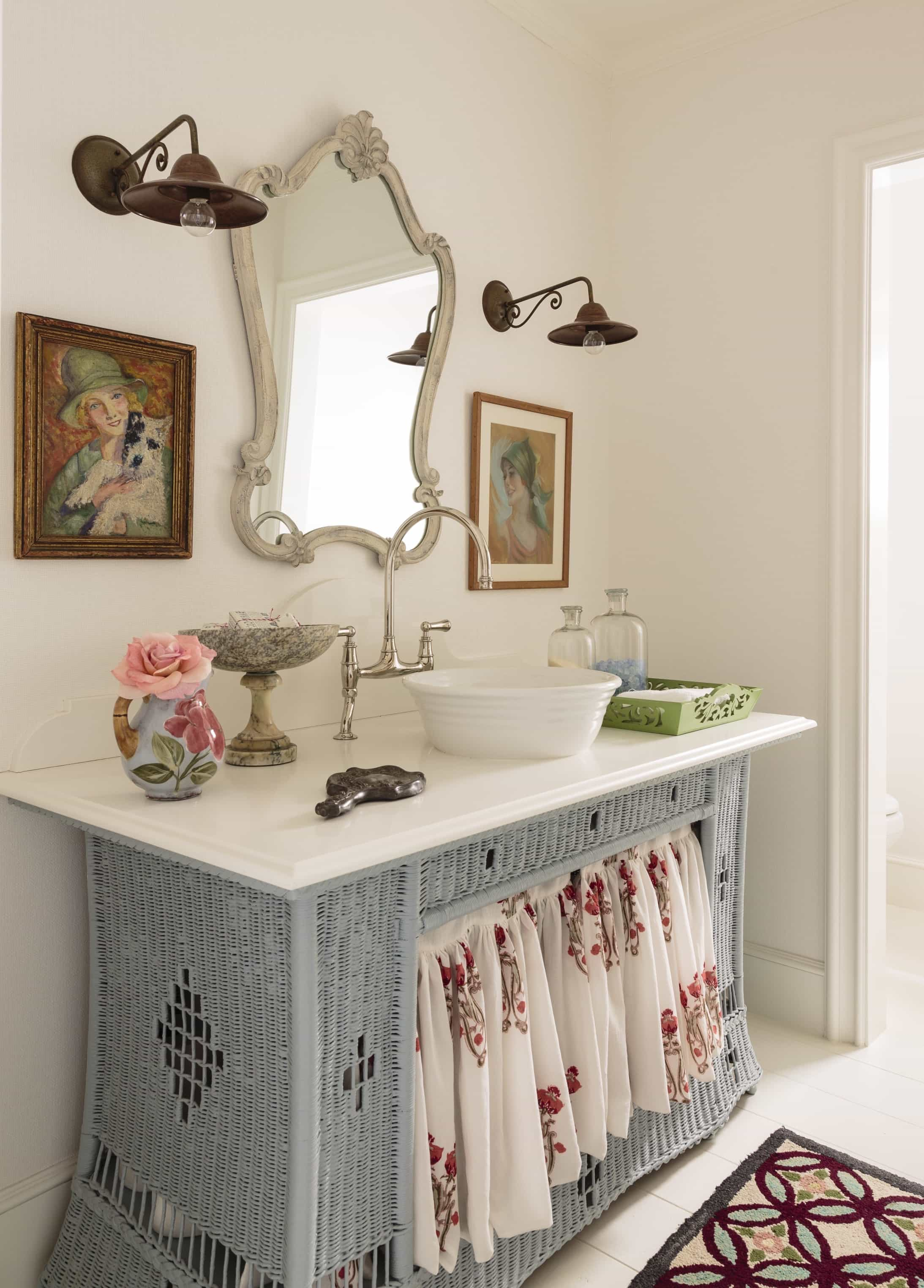 Featured Image of Blue Wicker Dresser Makes Unique Sink Base
