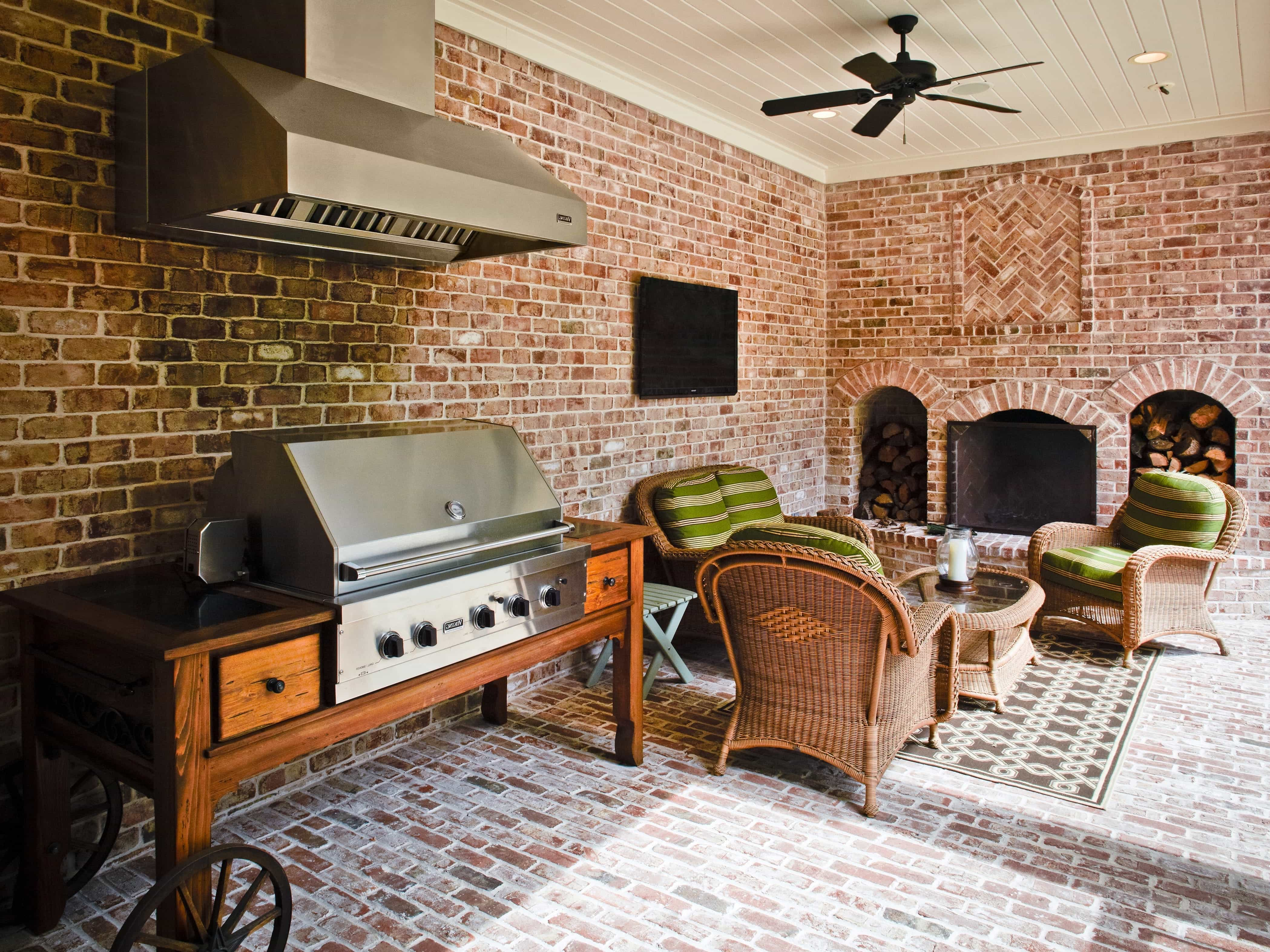 Brick Enclosed Patio With Gas Grill And Sitting Area (Image 3 of 30)