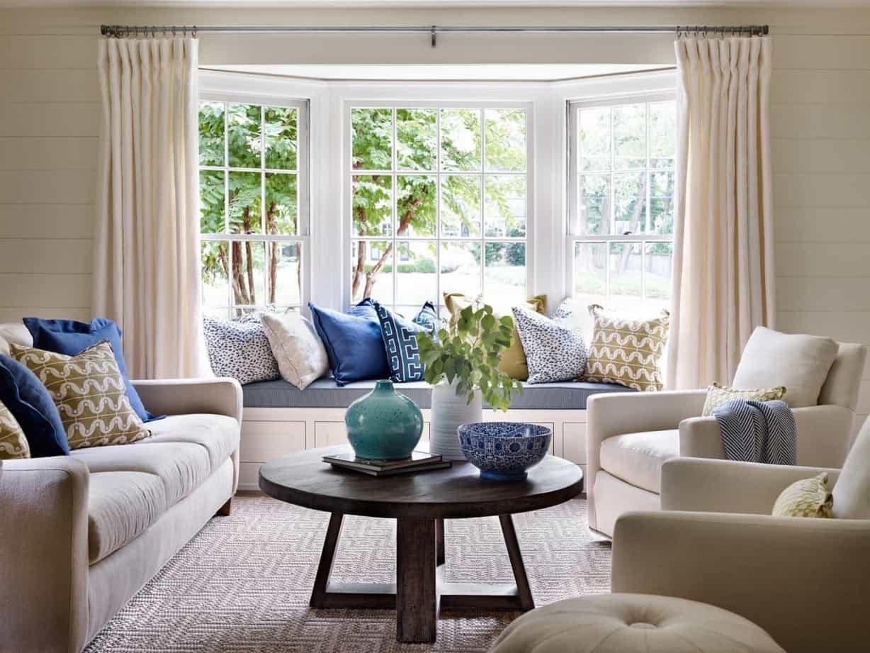 Featured Image Of Bright Living Room With Built In Window Seat And Blue  Accents Part 52