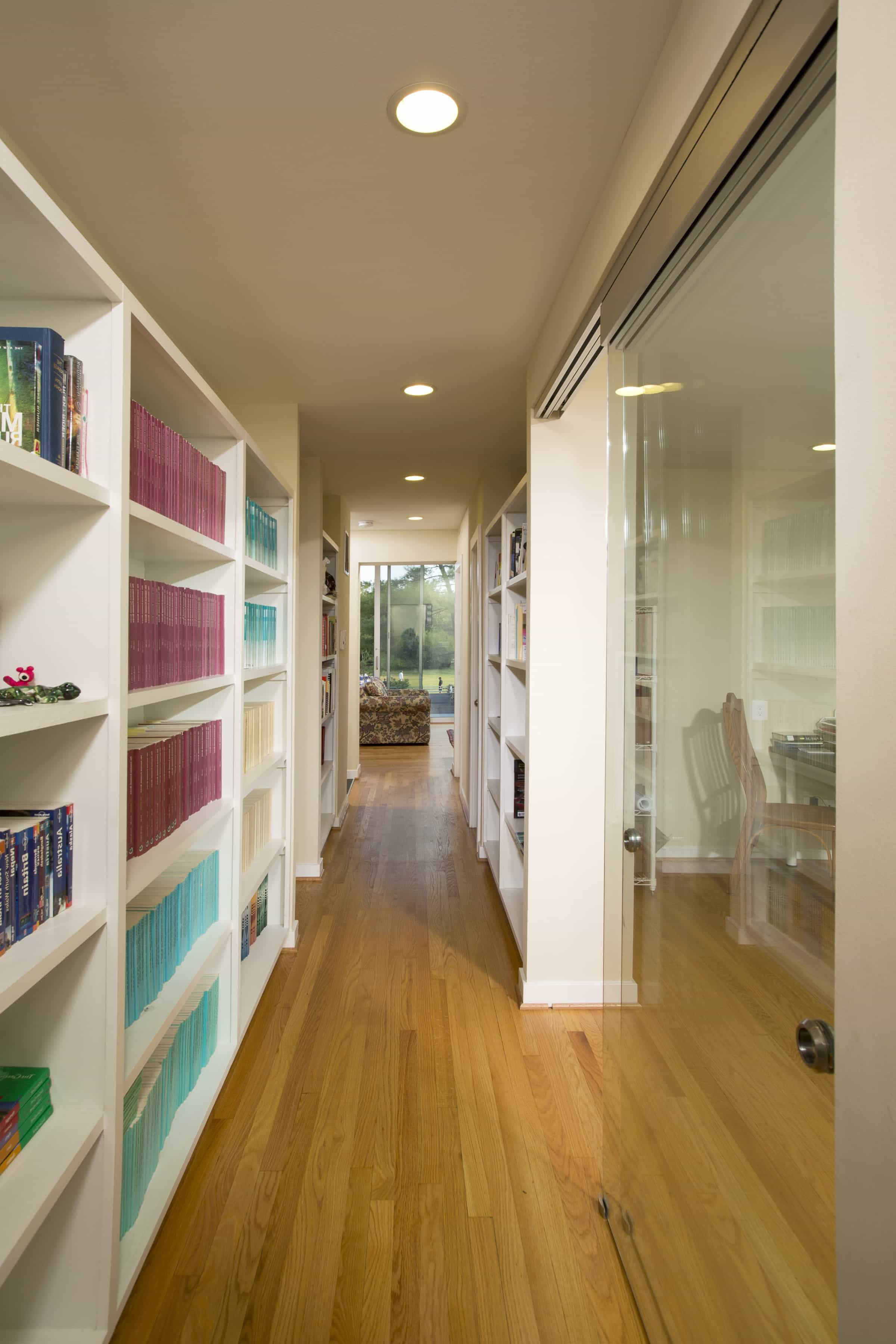Featured Image of Cape Cod Hallway With White Bookcase