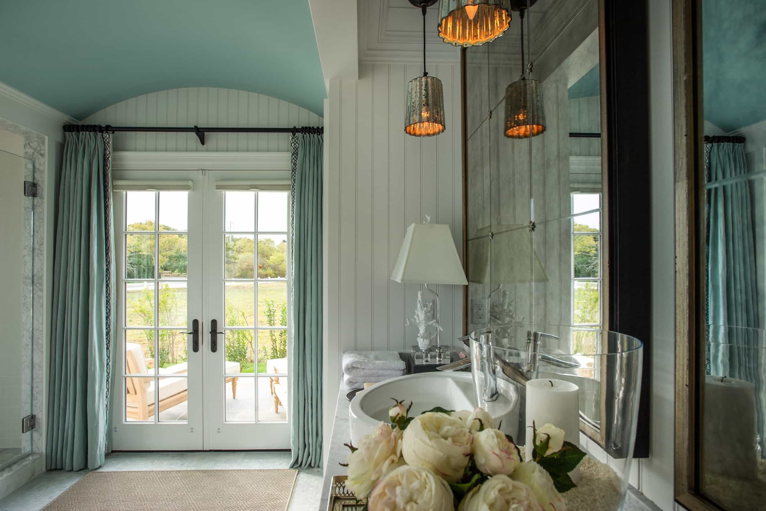 Featured Image of Classic Bathroom With Curtained French Doors To Patio