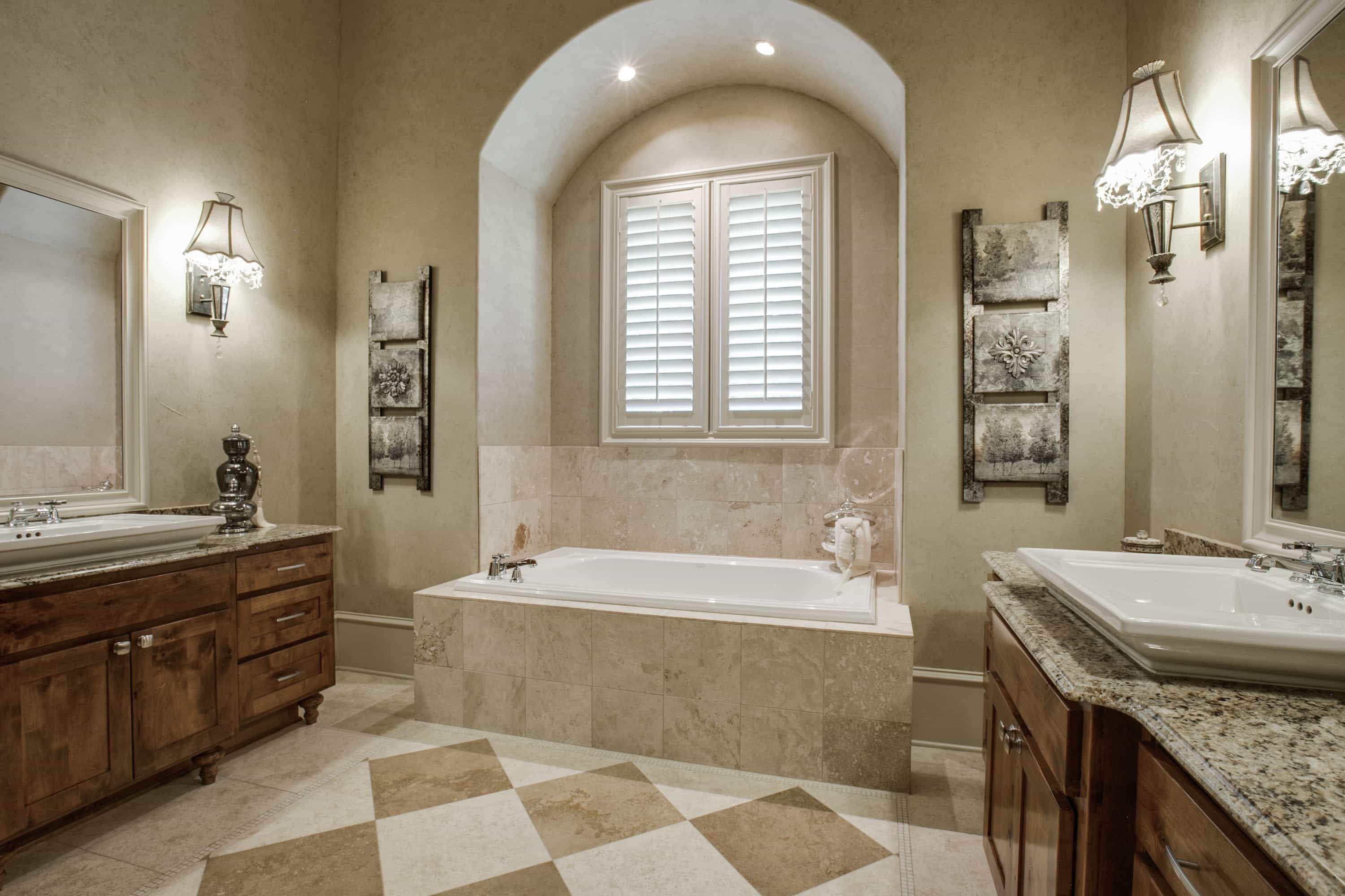 Classic French Bathroom With Diamond Pattern Tile (Image 4 of 20)