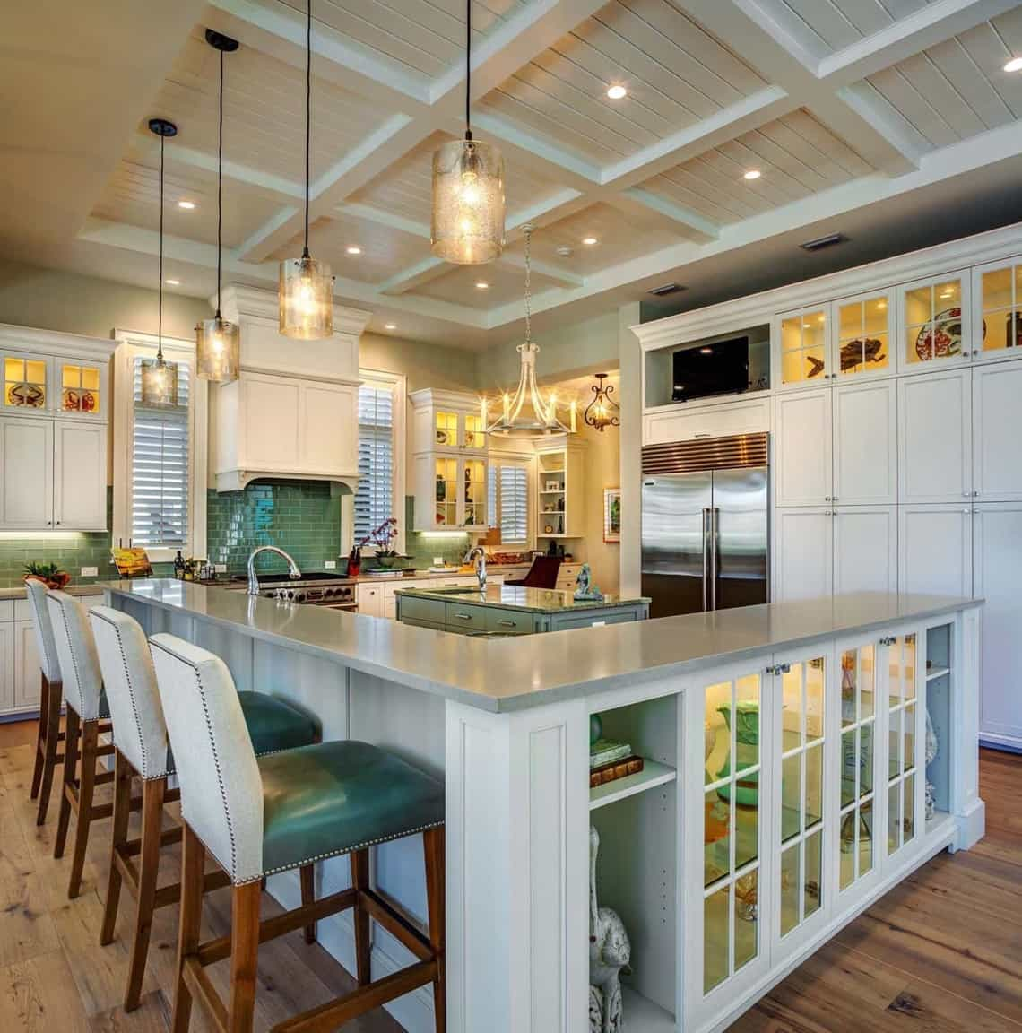 Featured Image of Coastal Kitchen With L Shaped Breakfast Bar And Teal  Accents