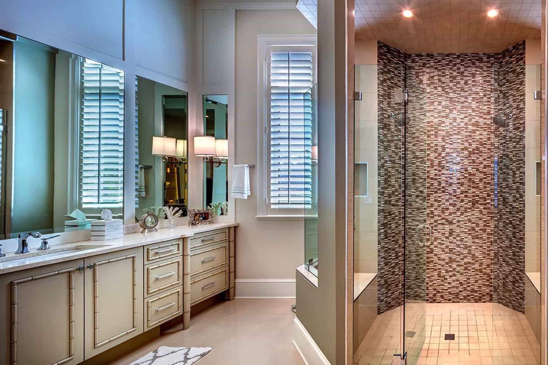 Featured Image of Coastal Single Vanity Bathroom With Brown Mosaic Tile Shower
