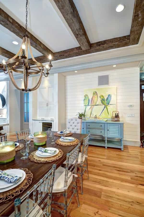 Featured Image of Coastal Style Dining Room With Exposed Beams And Nautical Chandelier