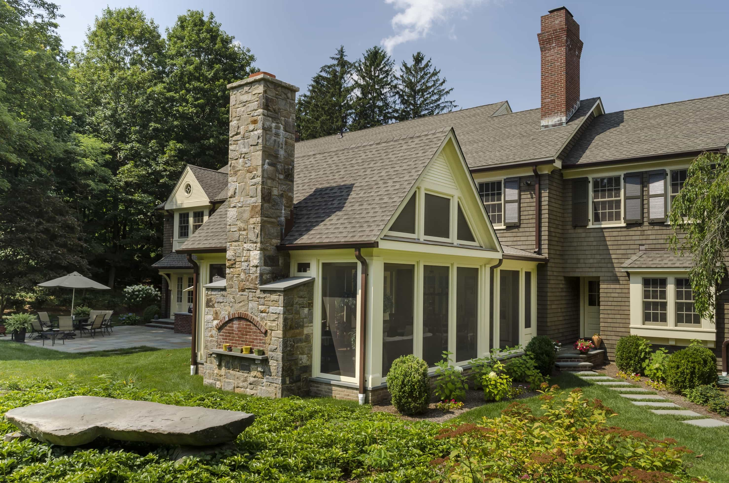 Featured Image of Colonial House Exterior With 450 Sqaure Foot Screened Porch