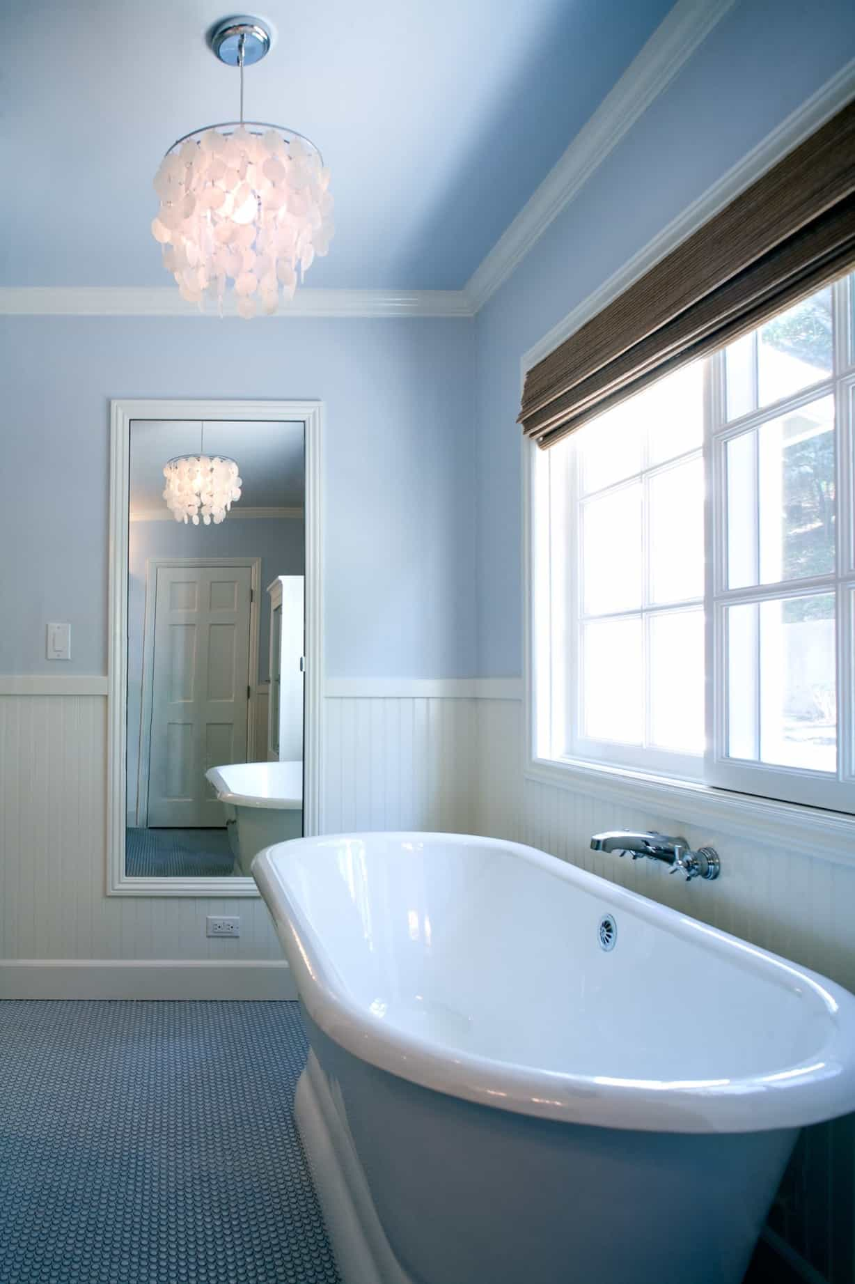Contemporary Bathroom With Blue Penny Tile Floor And Soaking Tub ...