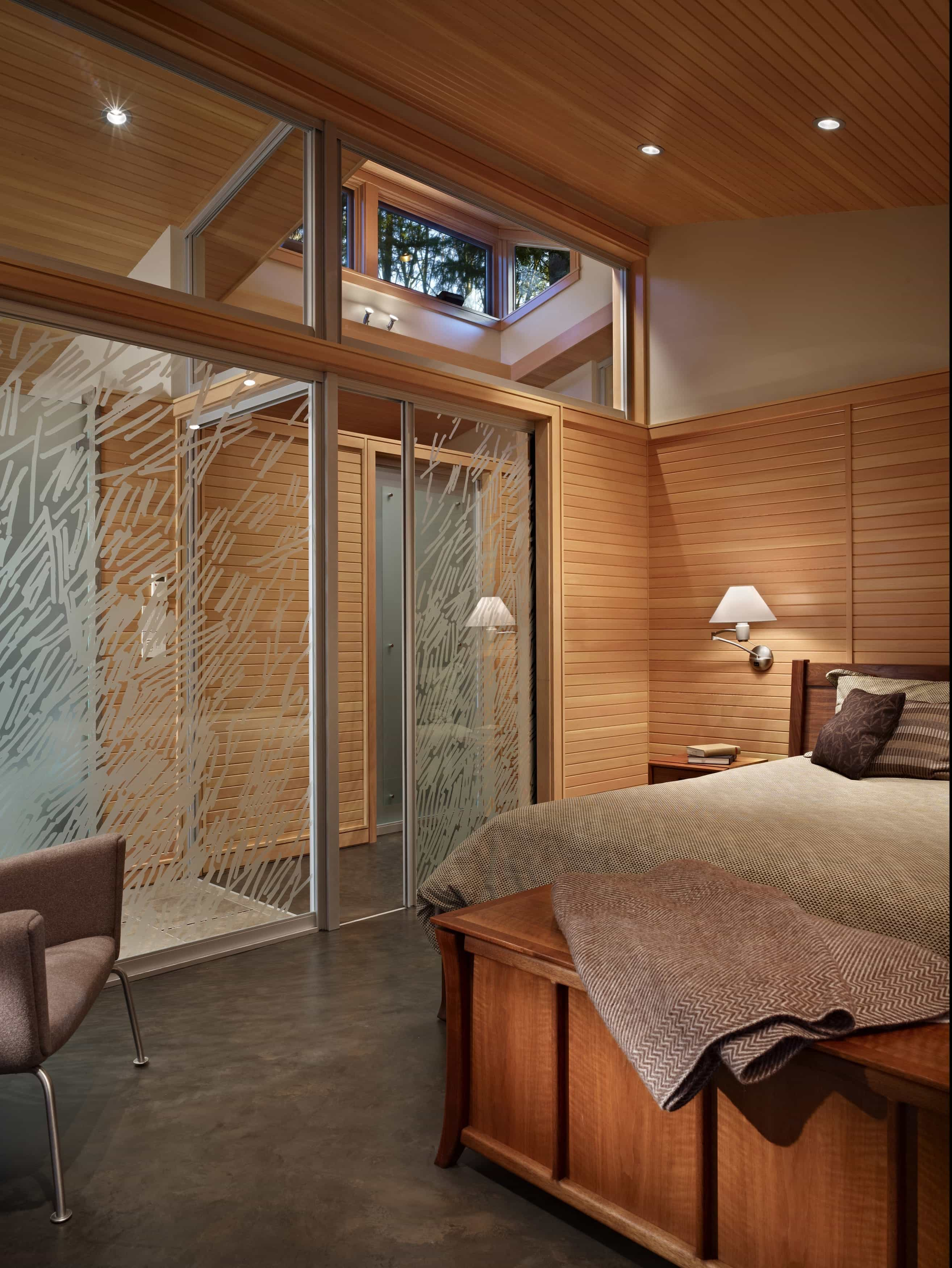 Contemporary Bedroom With Textured Sliding Glass Door (Image 6 of 27)